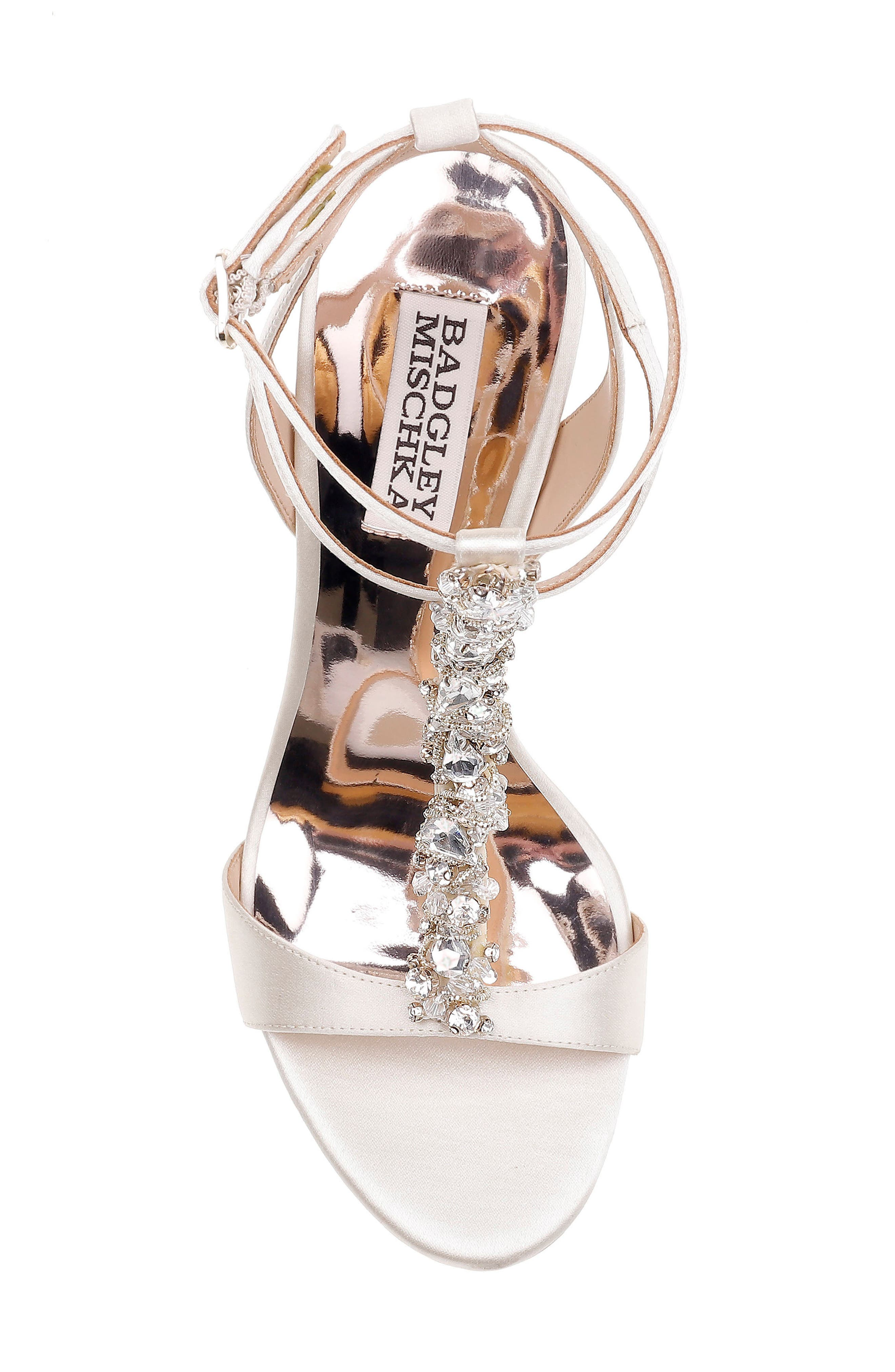 Hollow T-Strap Embellished Sandal,                             Alternate thumbnail 5, color,                             Ivory Leather