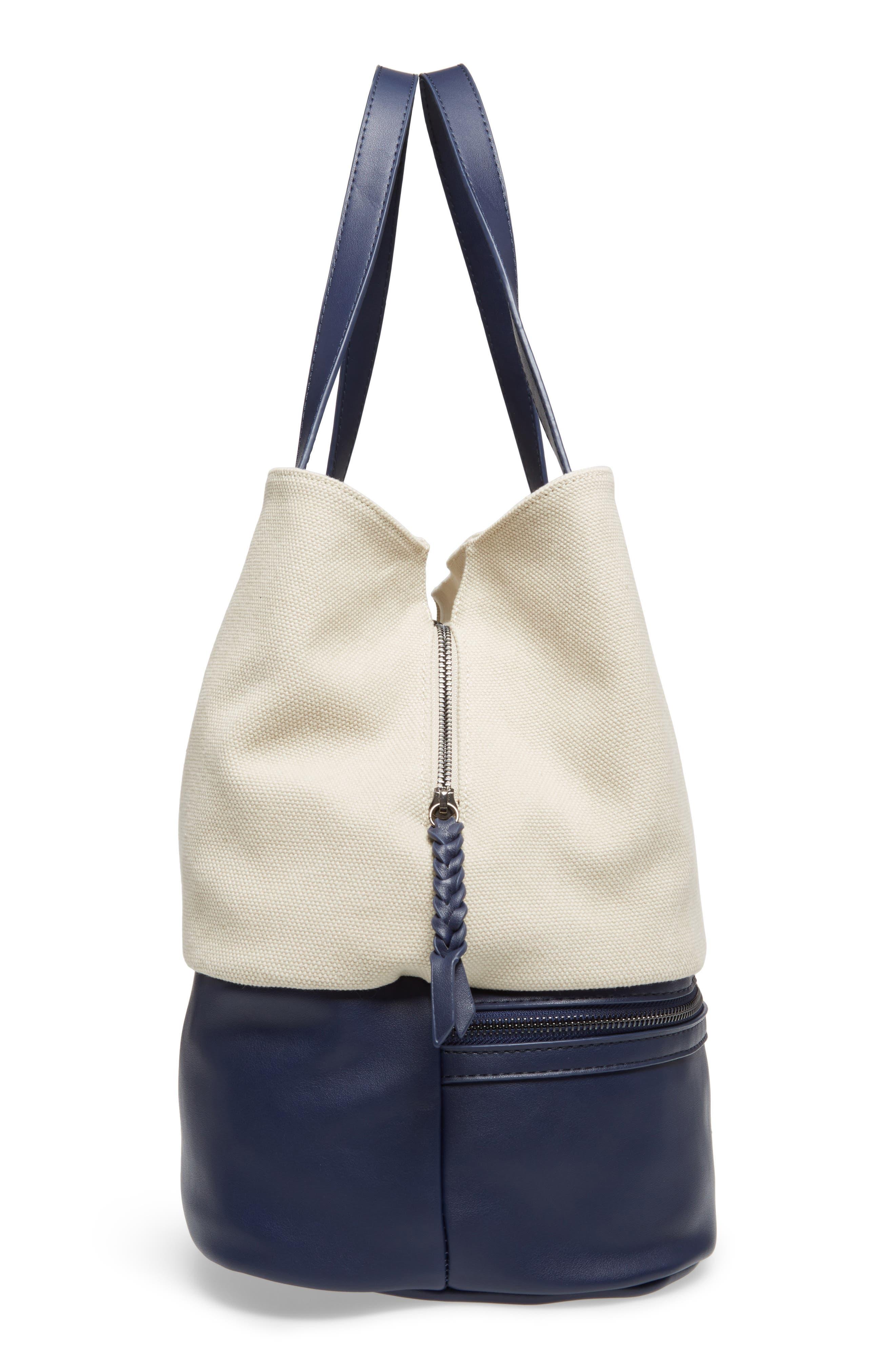 Two Toned Weekender Bag,                             Alternate thumbnail 5, color,                             Cream/ Navy