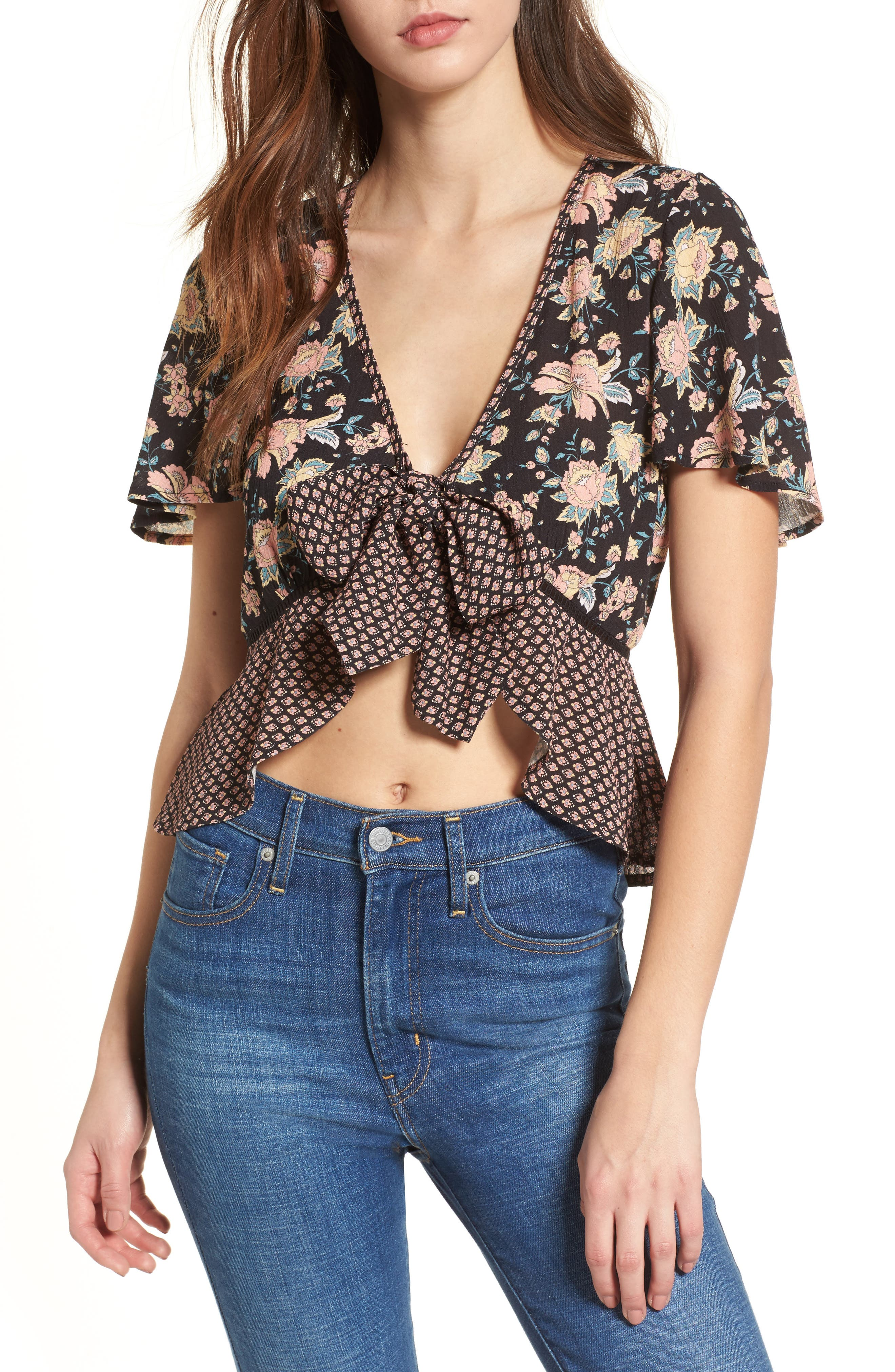 Band of Gypsies Mix Print Tie Front Top