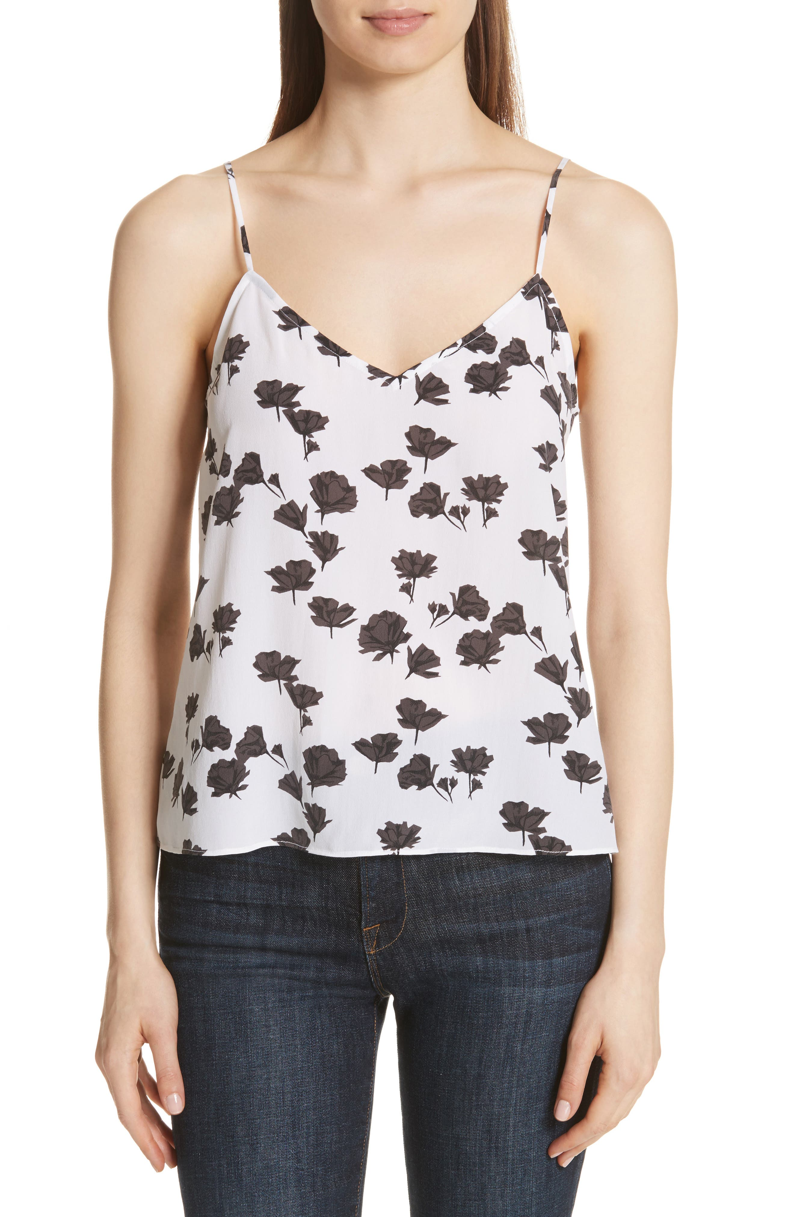 Layla Floral Print Silk Camisole,                         Main,                         color, Bright White