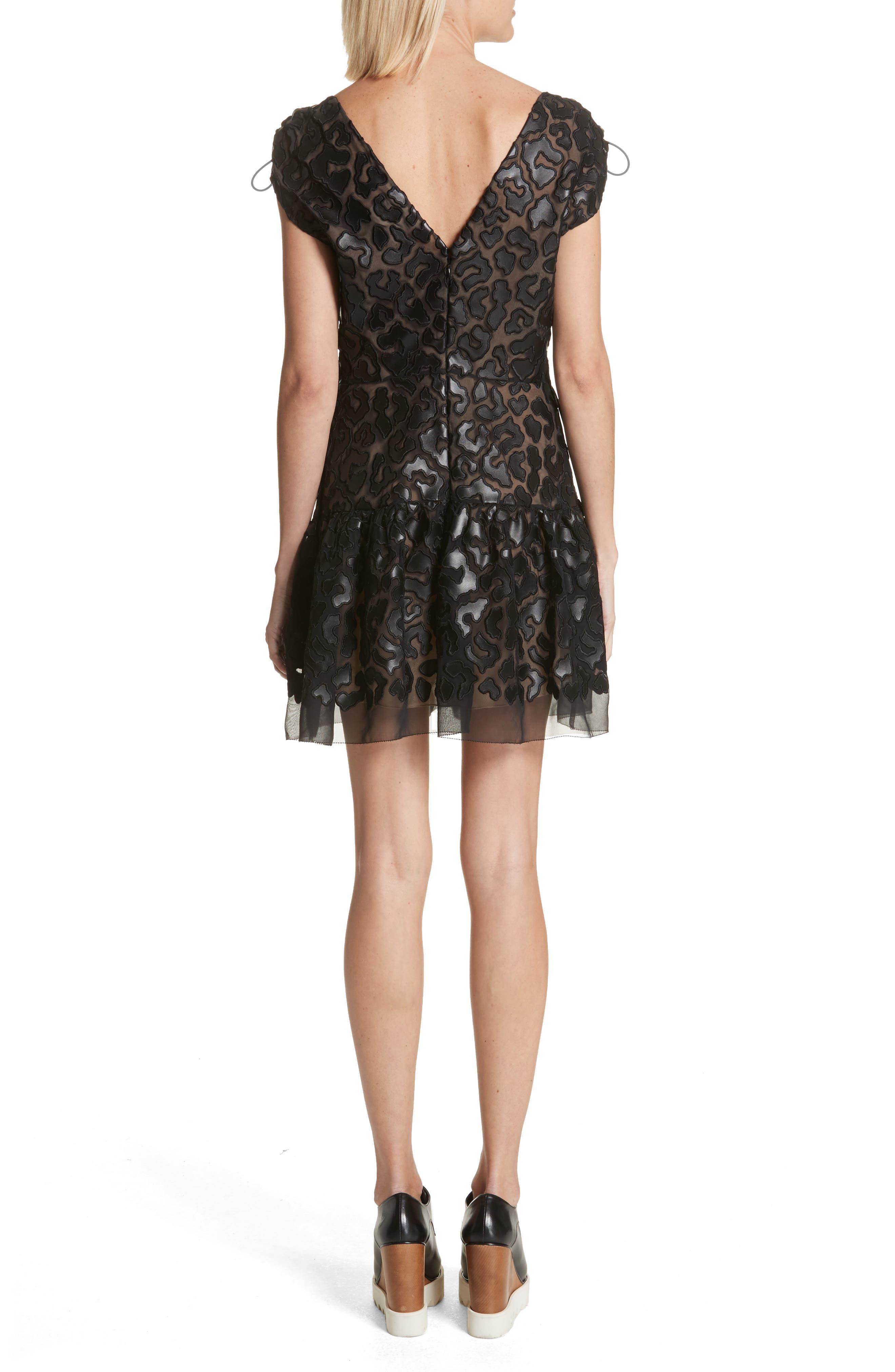 Faux Leather Leopard Print Dress,                             Alternate thumbnail 2, color,                             Black