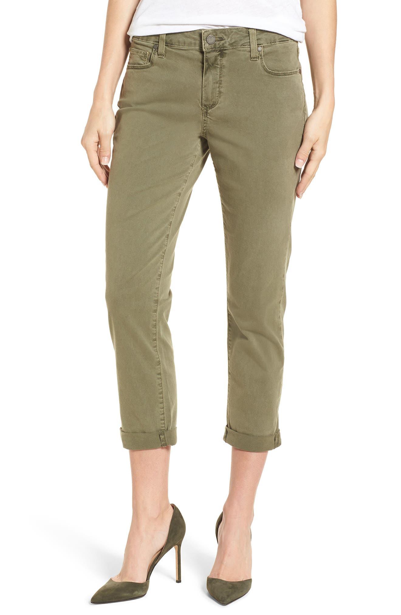 Brigitte Crop Boyfriend Jeans,                             Main thumbnail 1, color,                             Vintage Green