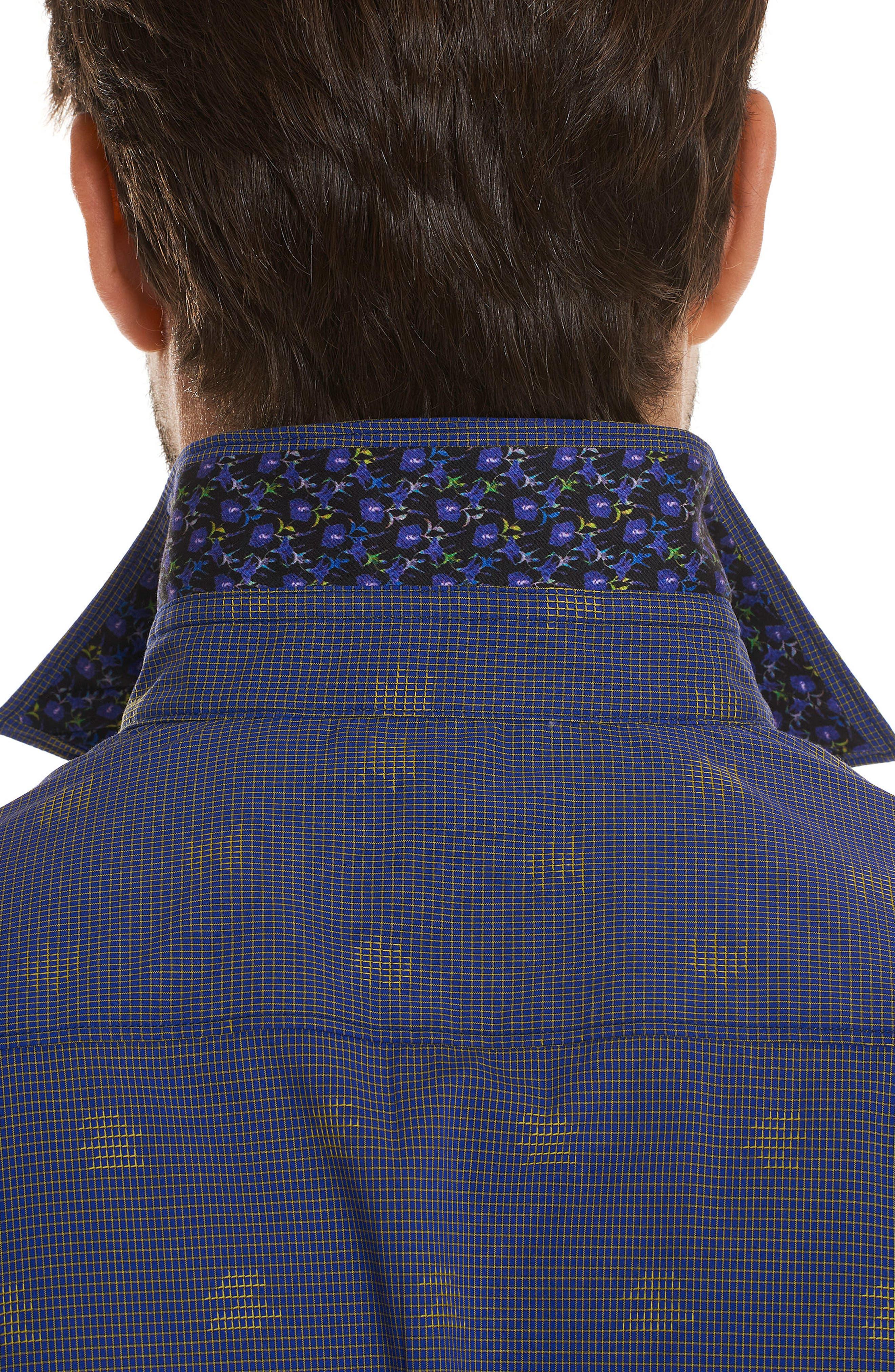 Vidin Regular Fit Jacquard Dot Sport Shirt,                             Alternate thumbnail 3, color,                             Blue