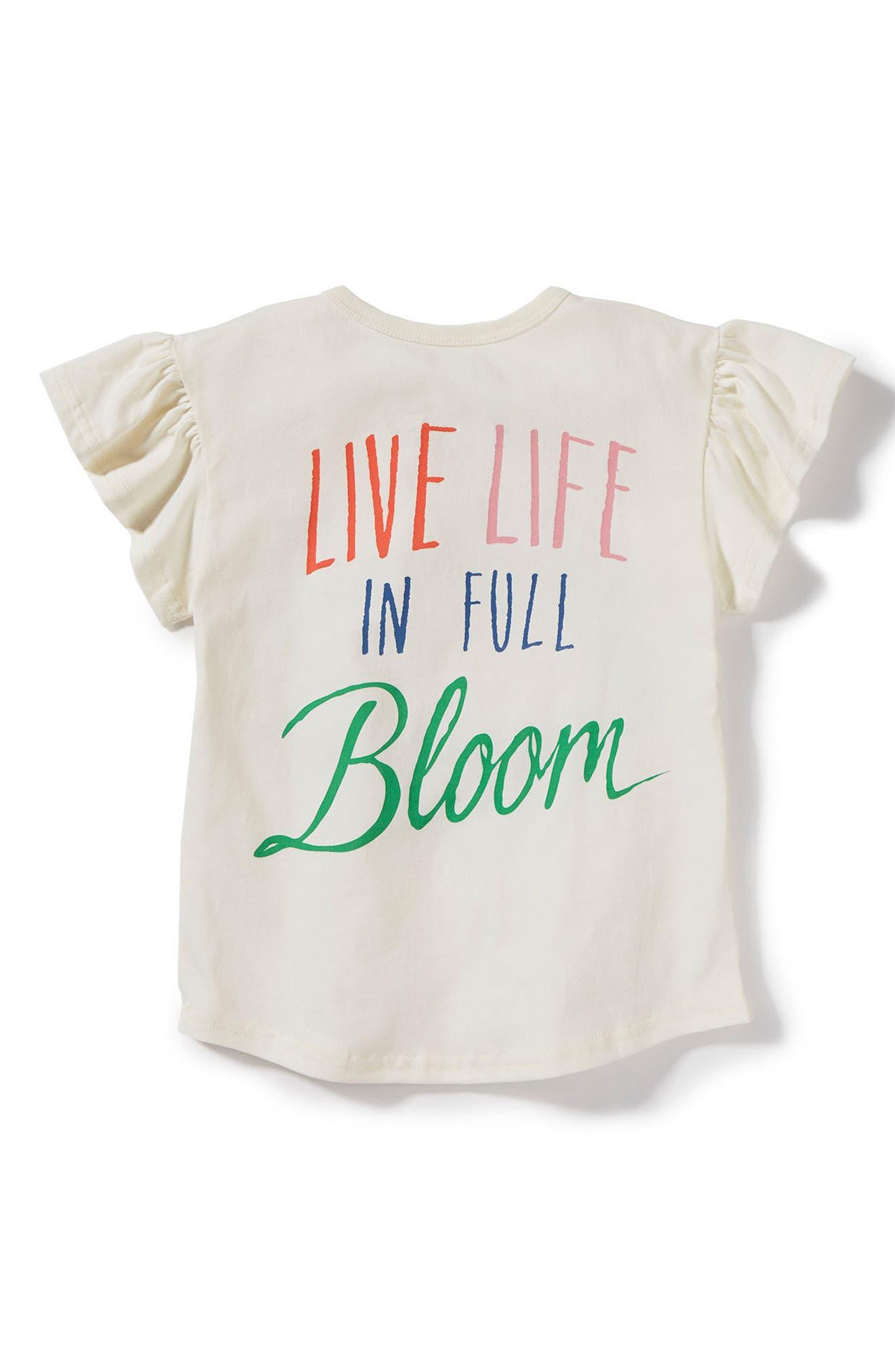 Full Bloom Flutter Sleeve Tee,                             Alternate thumbnail 2, color,                             Ivory
