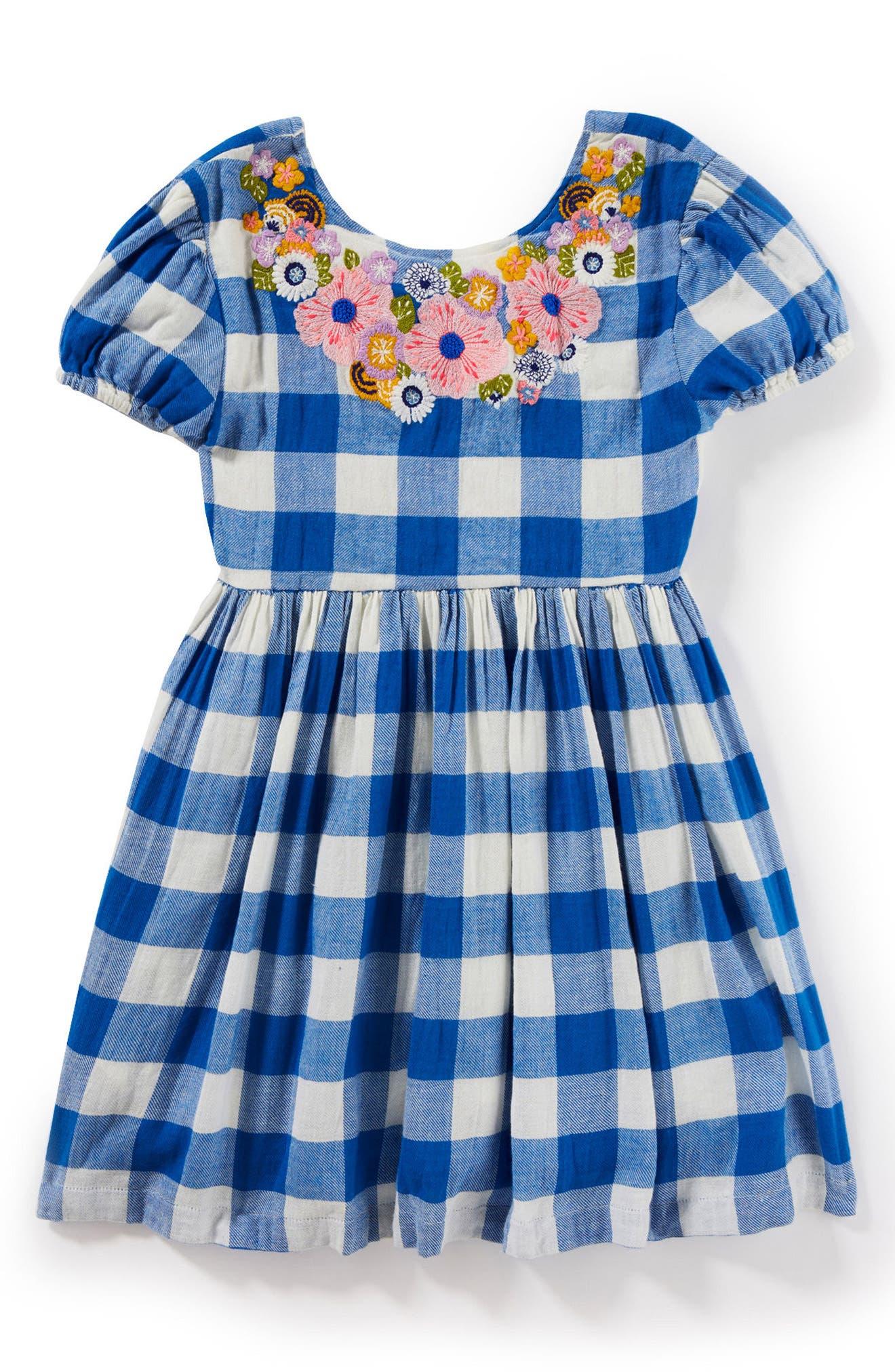 Main Image - Peek Penelope Embroidered Check Dress (Toddler Girls, Little Girls & Big Girls)