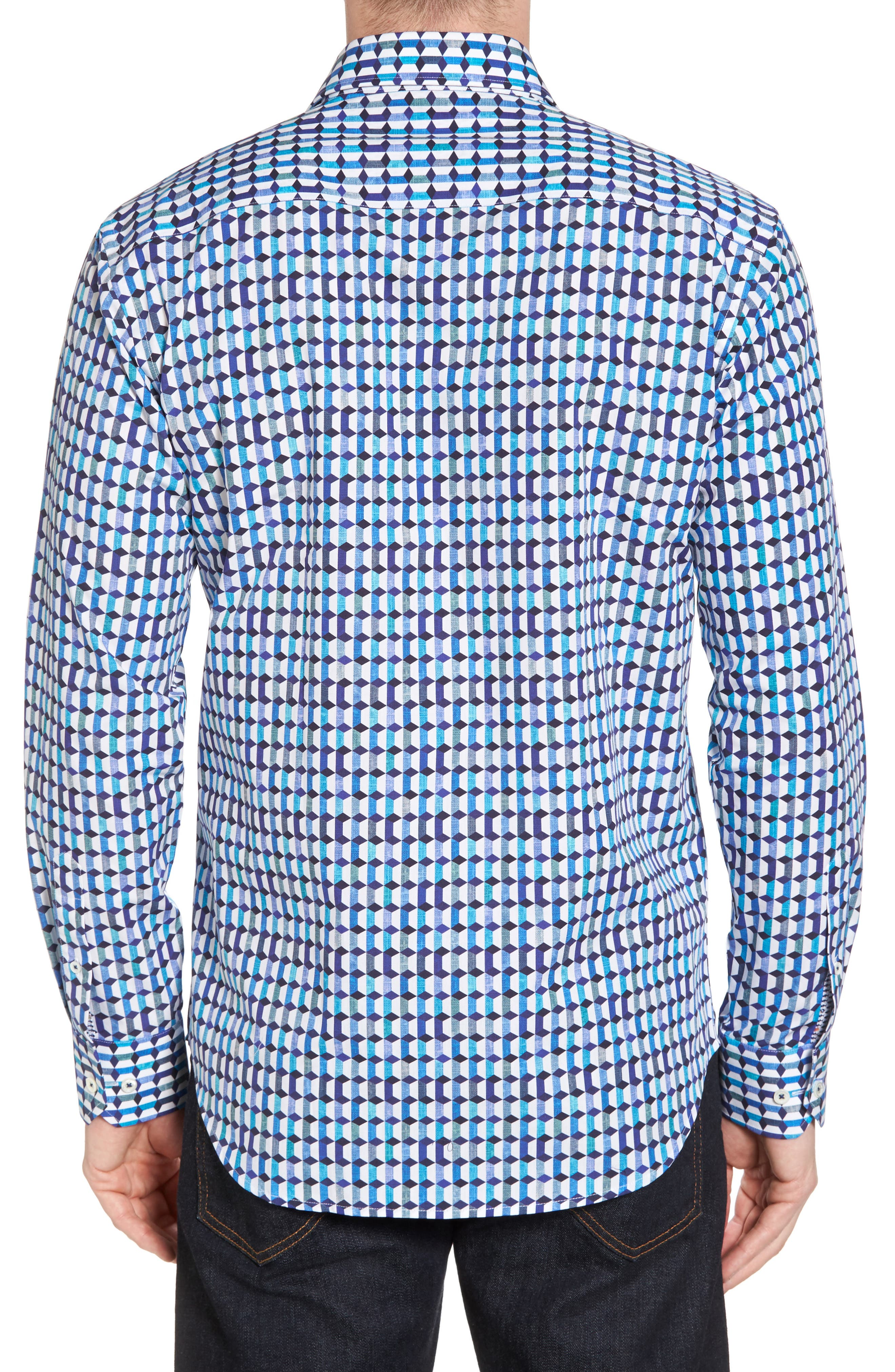 Shaped Fit Geo Print Sport Shirt,                             Alternate thumbnail 3, color,                             Turquoise