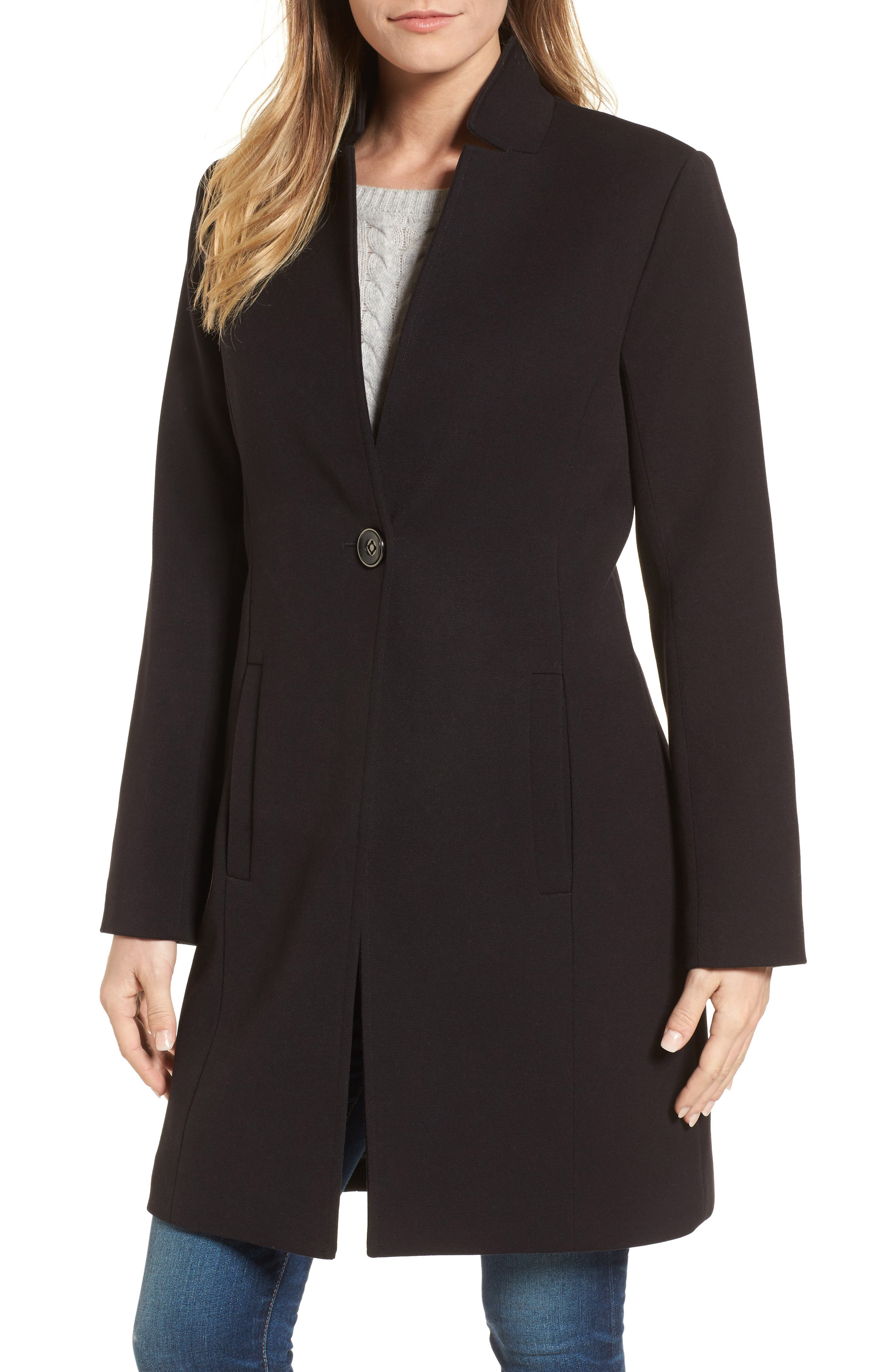 Ponte Knit Duster Jacket,                             Main thumbnail 1, color,                             Black