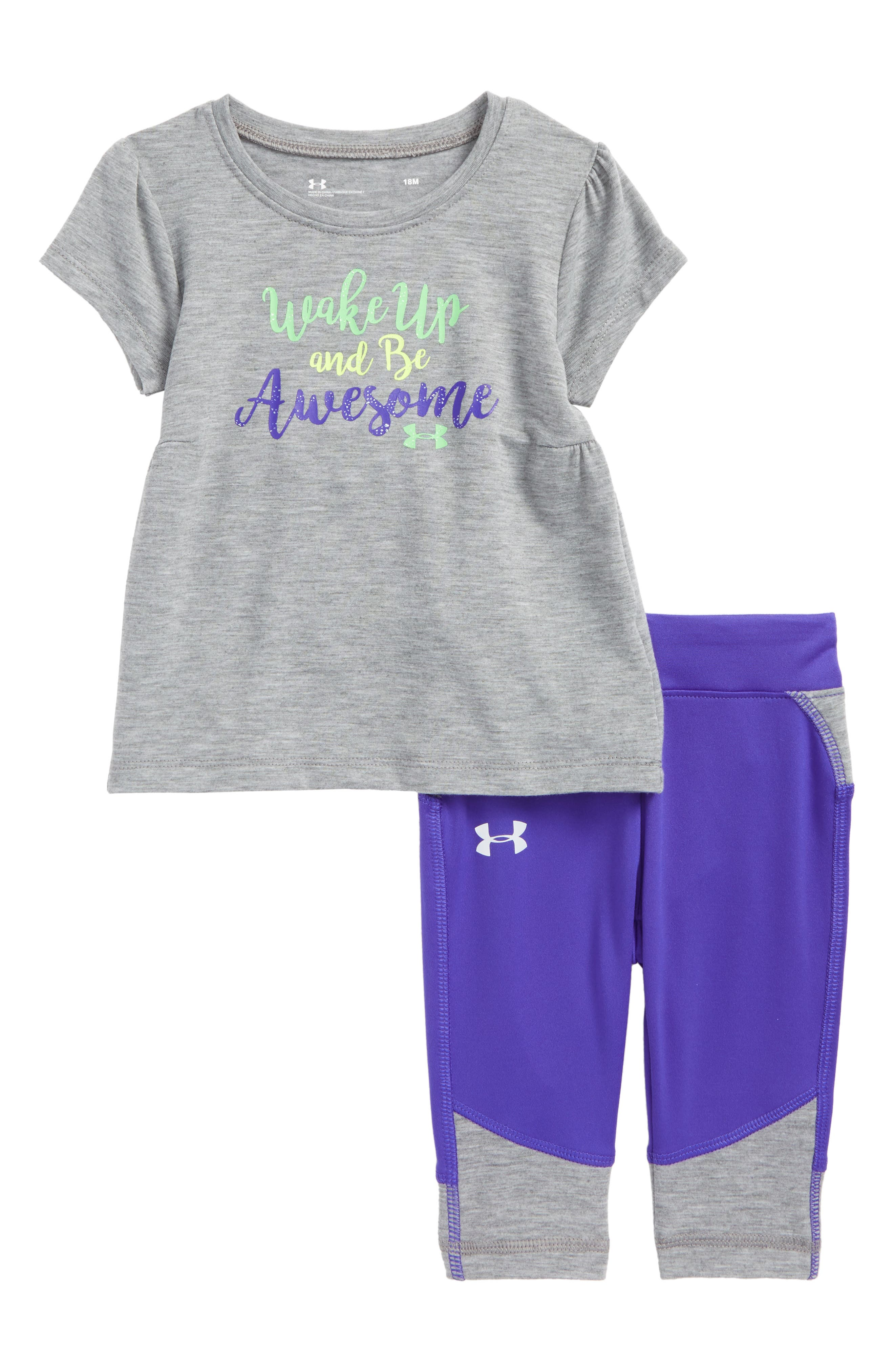 Under Armour Wake Up & Be Awesome Tee & Leggings Set (Baby Girls)