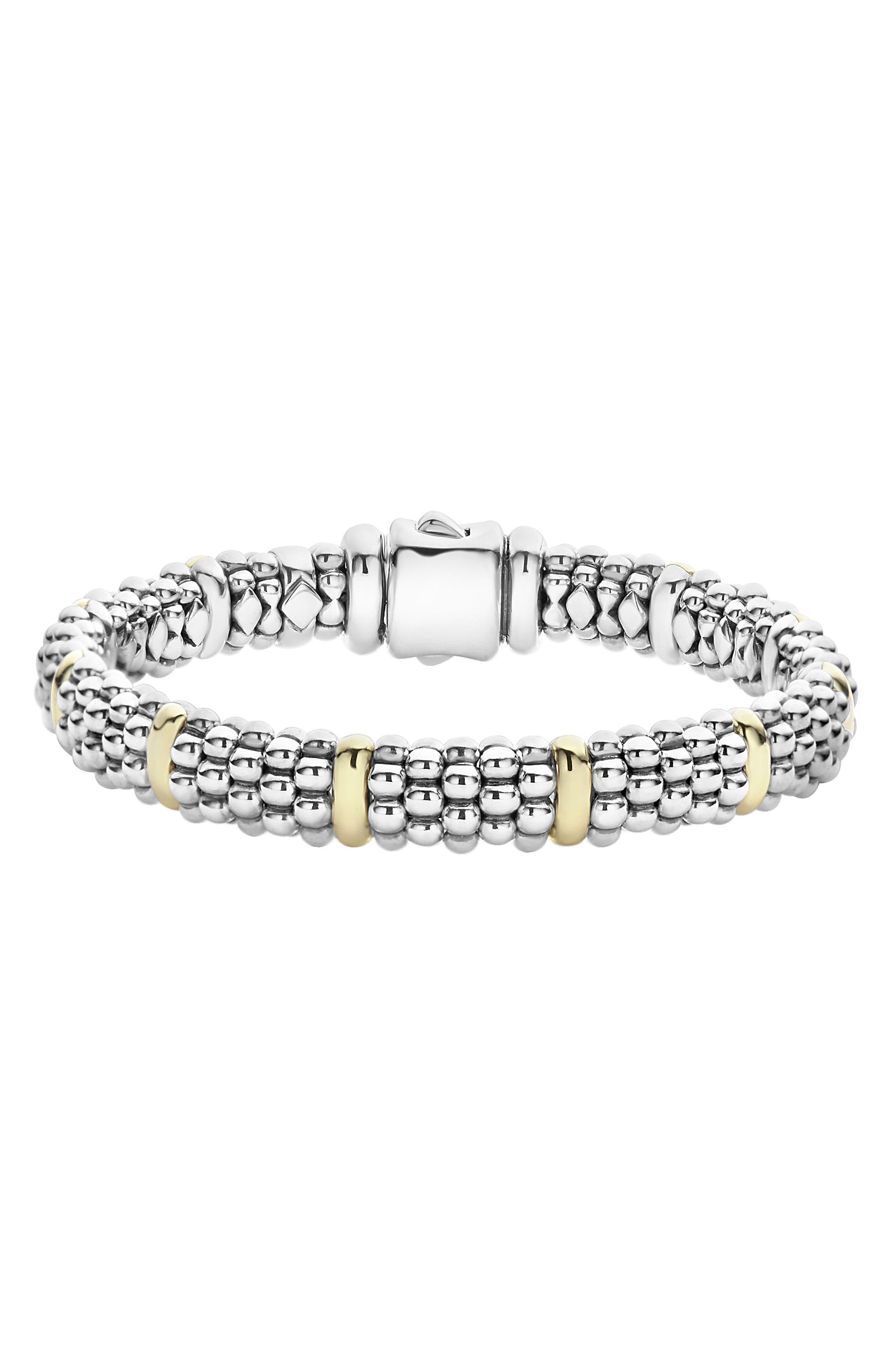 Oval Caviar Rope Bracelet,                         Main,                         color, Silver/ Gold