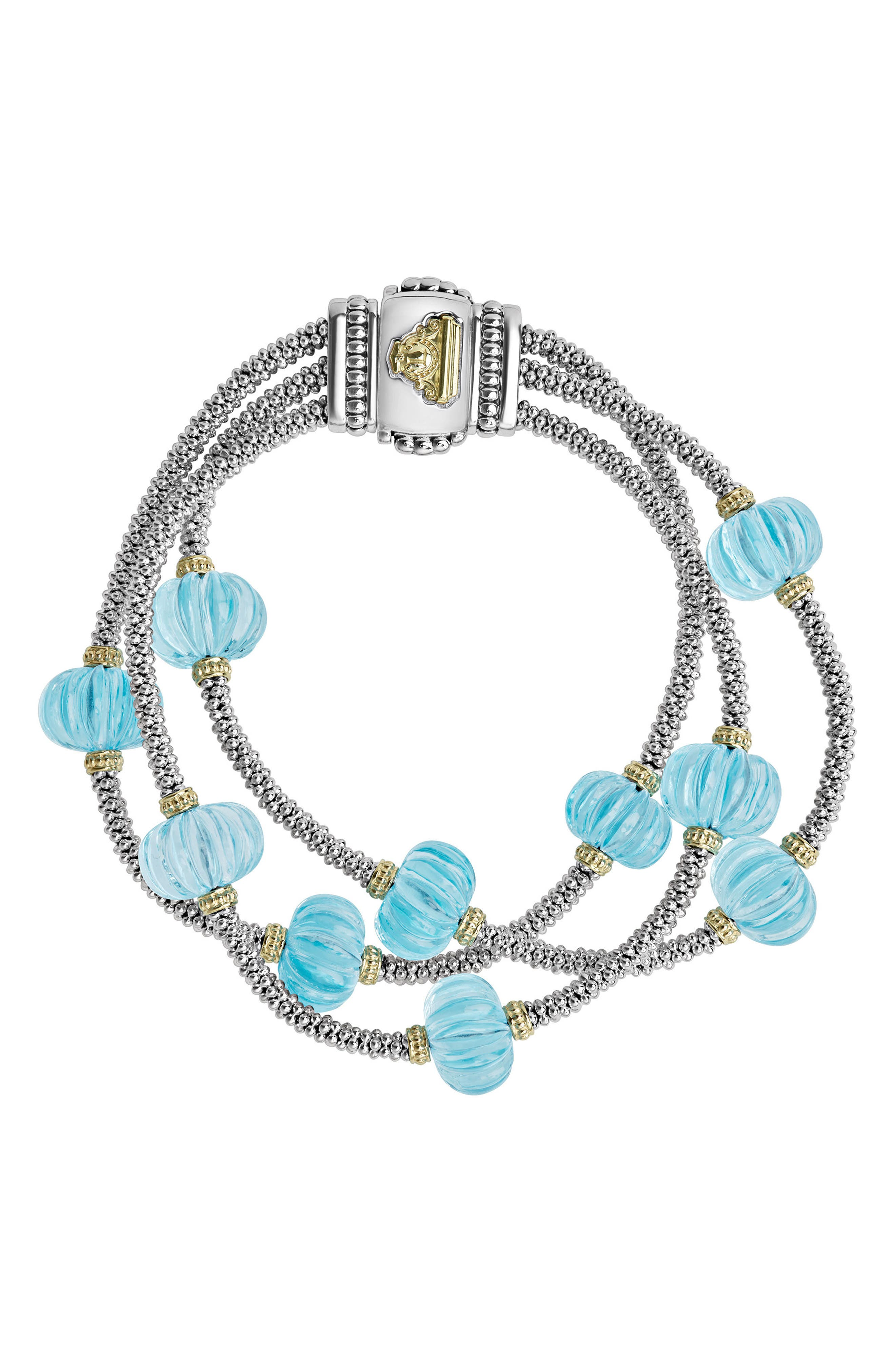 Caviar Forever Triple Strand Melon Bead Bracelet,                             Main thumbnail 1, color,                             Silver/ Sky Blue Topaz