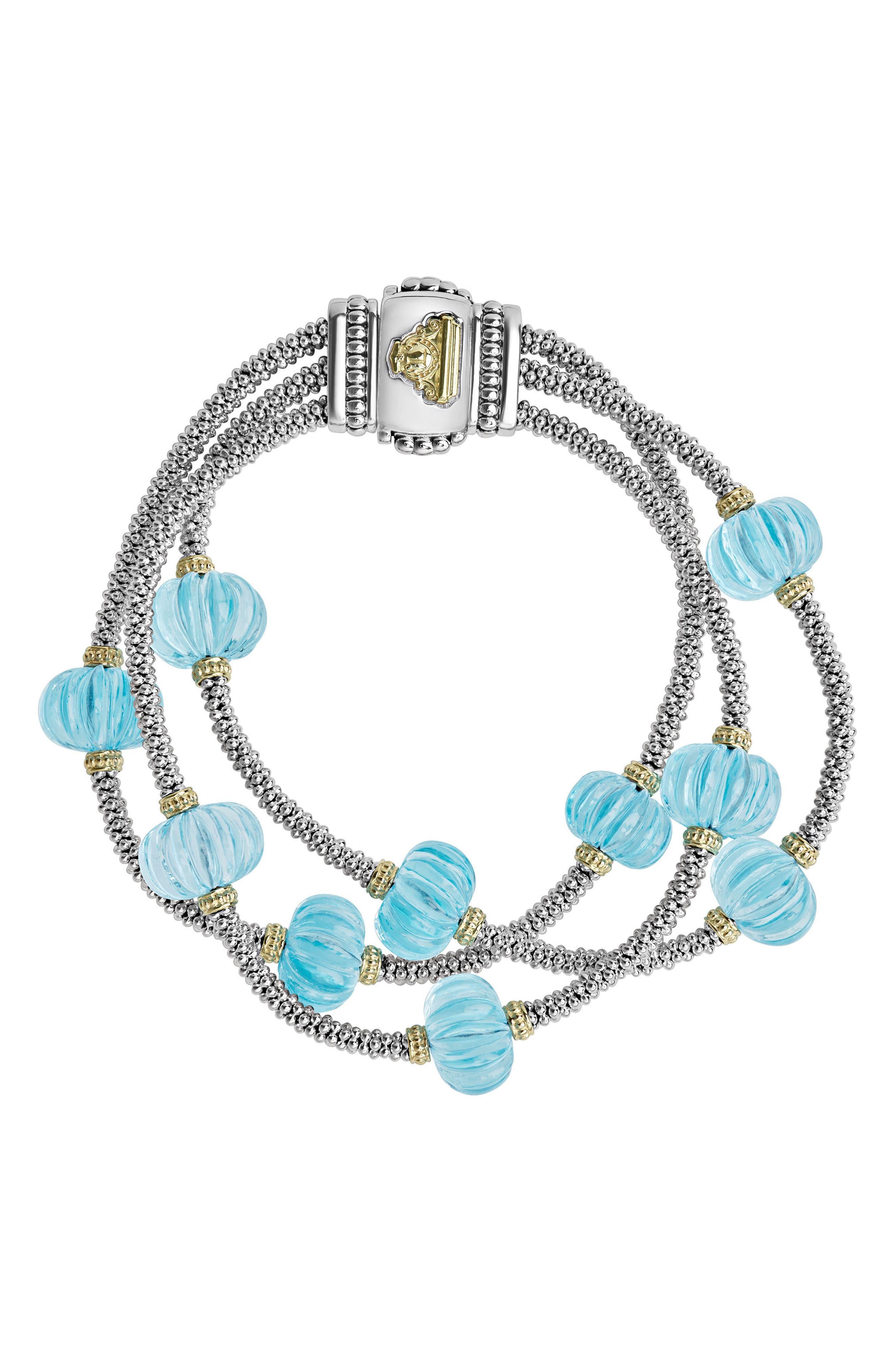 Caviar Forever Triple Strand Melon Bead Bracelet,                         Main,                         color, Silver/ Sky Blue Topaz