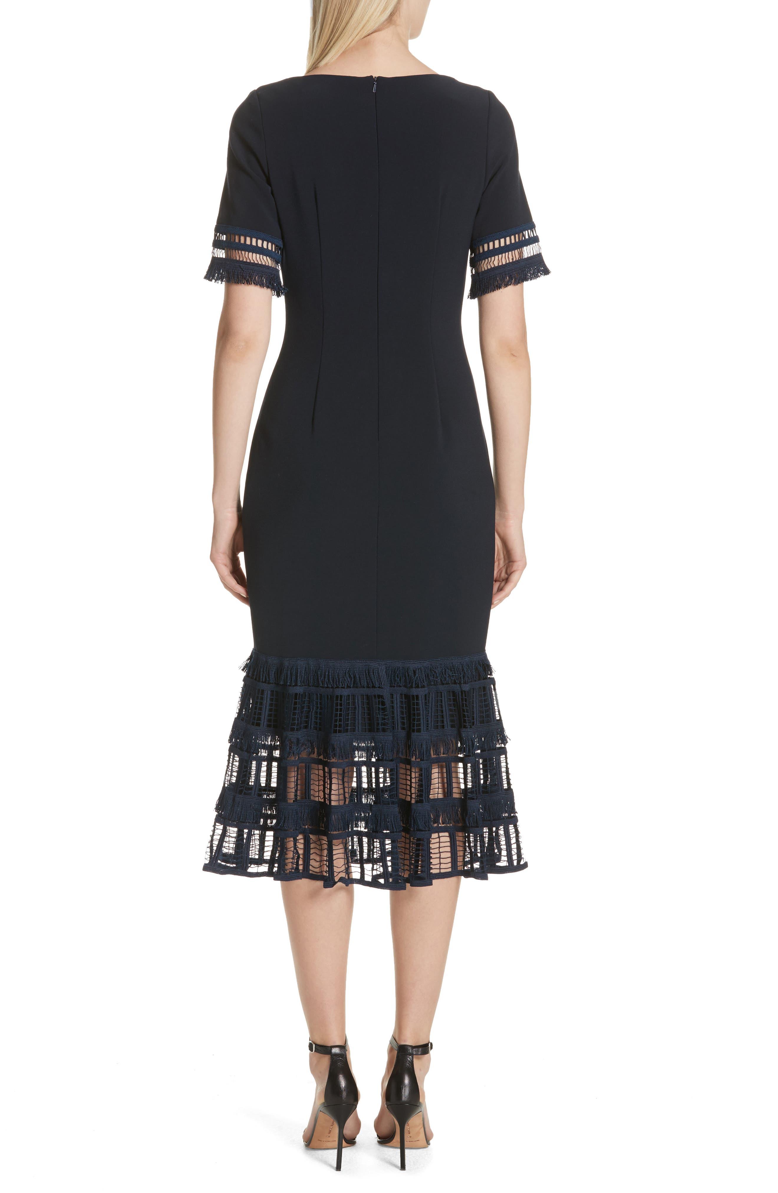 Fringe Flare Hem Sheath Dress,                             Alternate thumbnail 2, color,                             Navy
