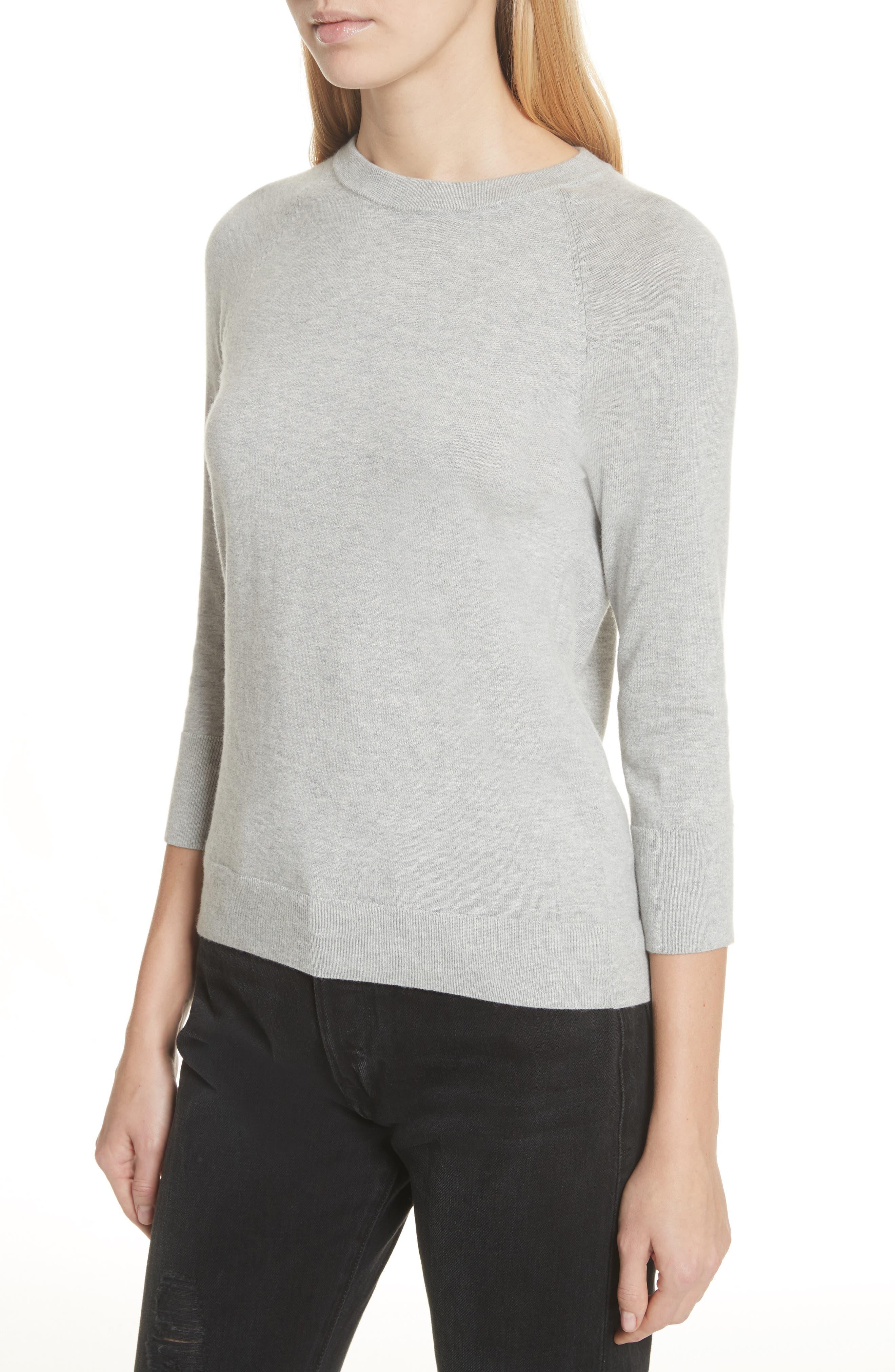 Cotton & Cashmere Sweater,                             Alternate thumbnail 4, color,                             Light Heather Grey