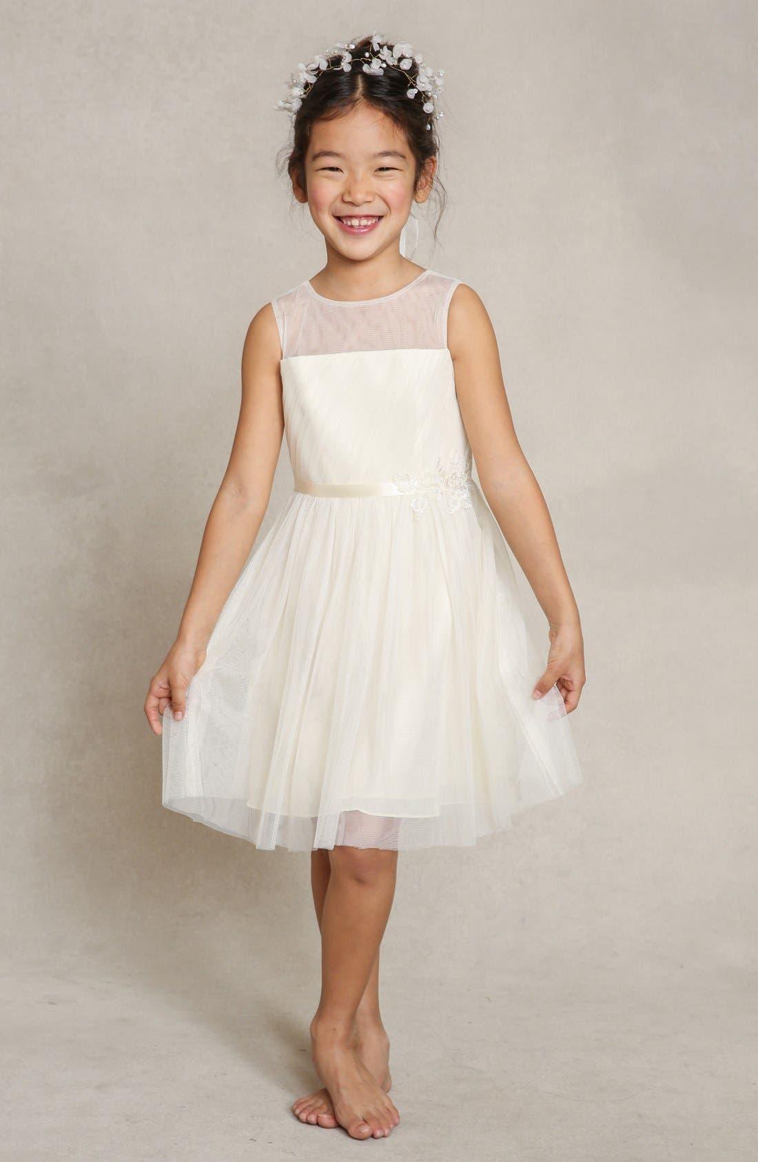 Zoe Floral Appliqué Tulle Dress,                             Main thumbnail 1, color,                             Cream