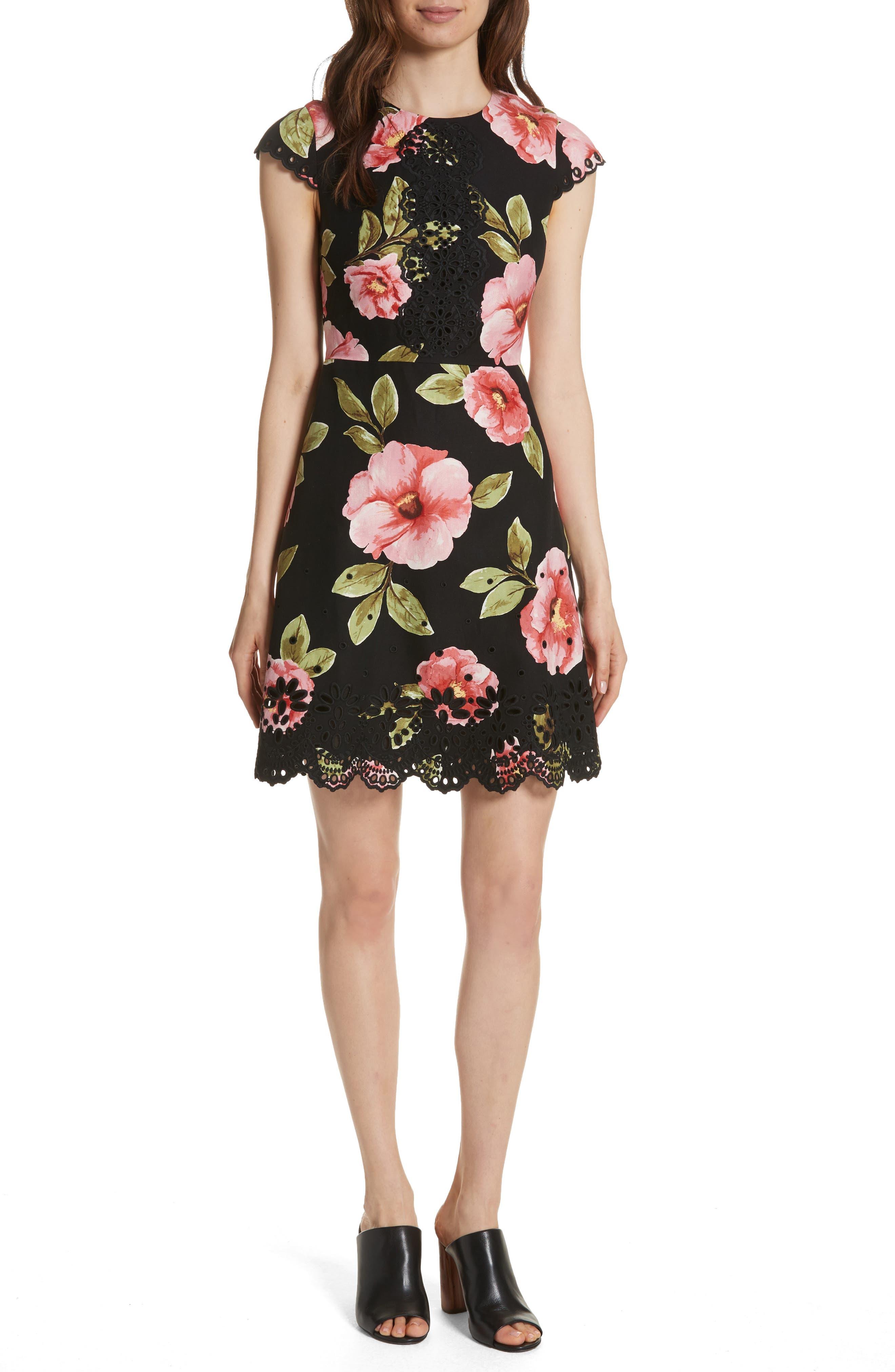ria vintage bloom dress,                         Main,                         color, Black
