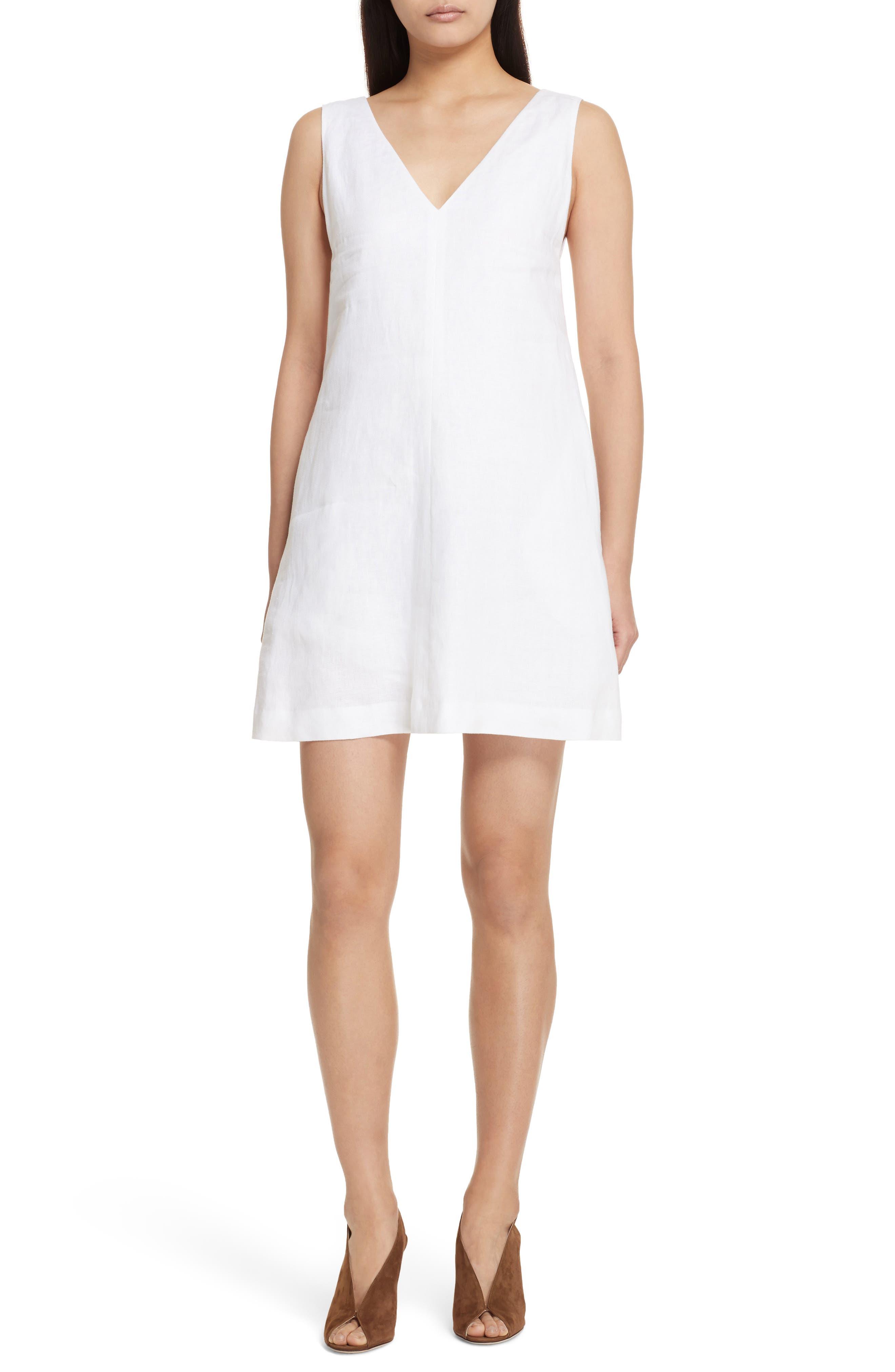 Linen Shift Dress,                         Main,                         color, White