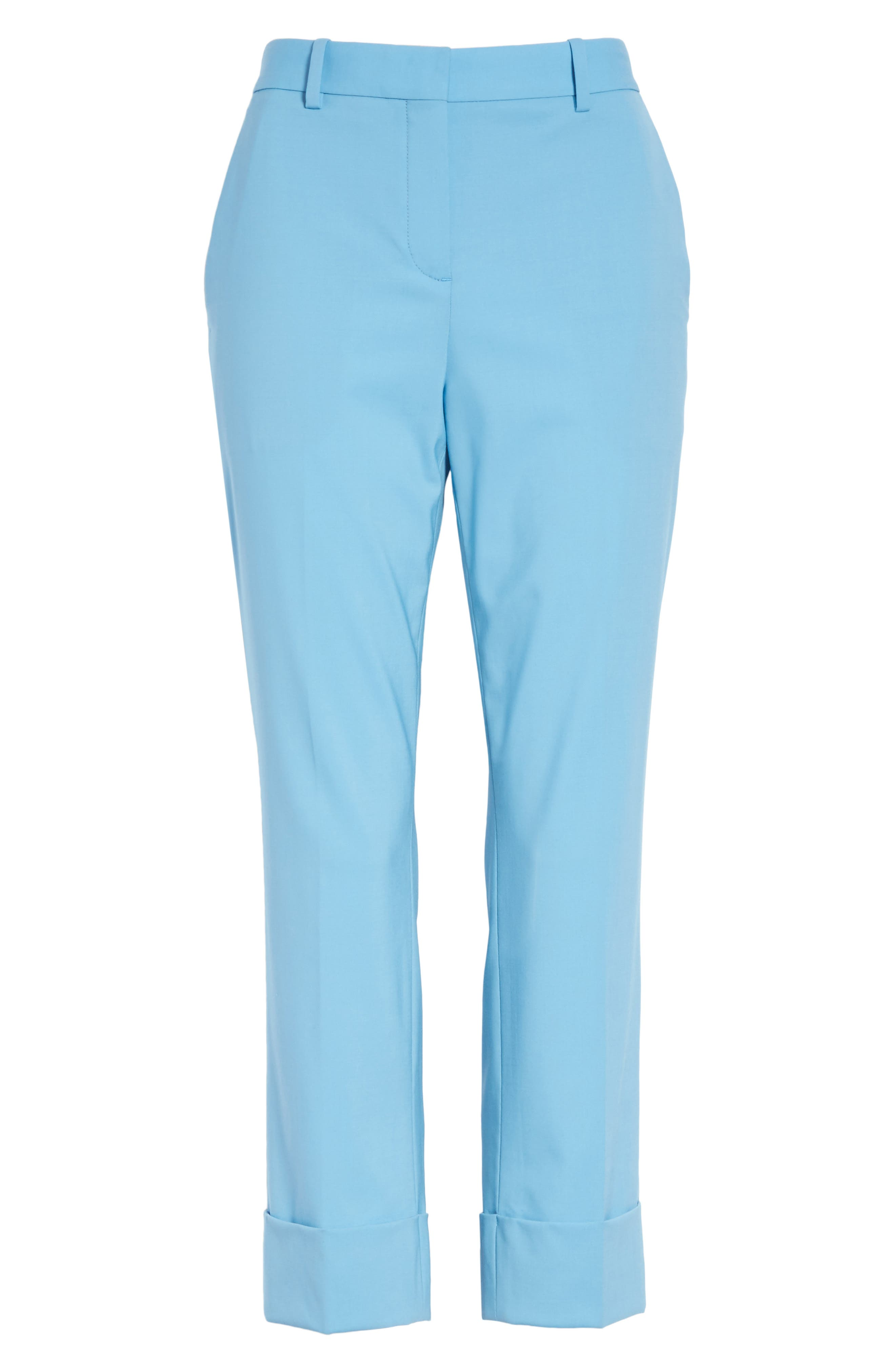 Cuffed Stretch Wool Crop Pants,                             Alternate thumbnail 6, color,                             Blue Robin