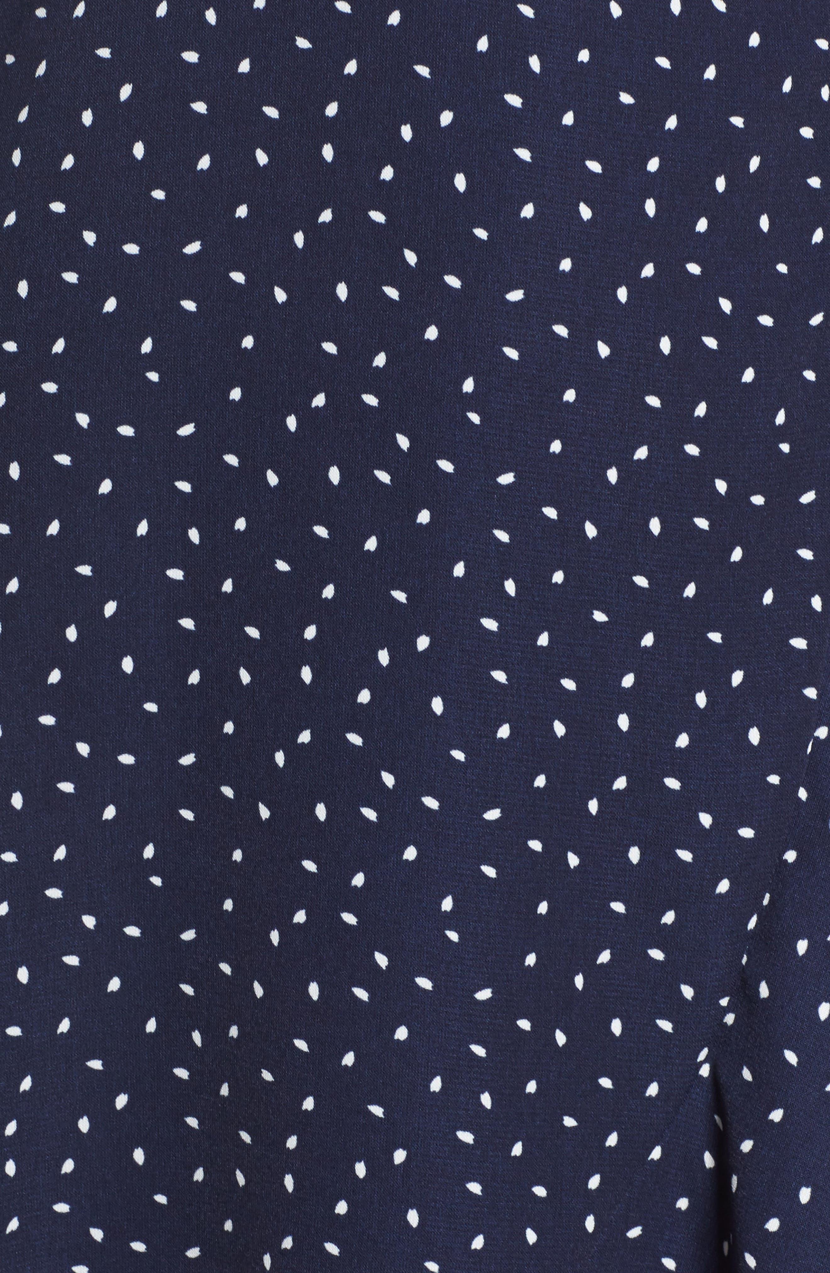 Print Wrap Dress,                             Alternate thumbnail 5, color,                             Small Mixed Dot