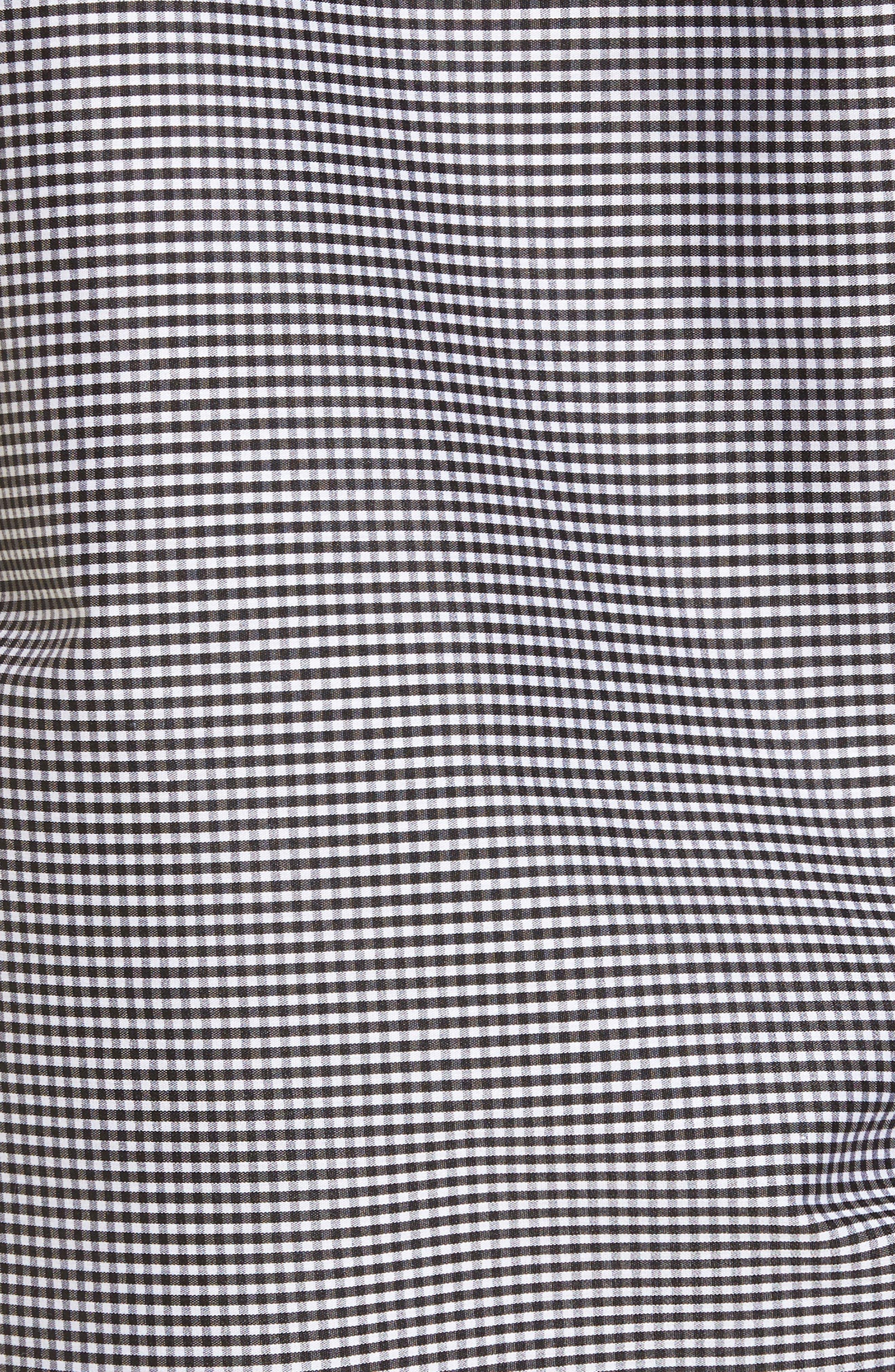 Cutout Ruffle Top,                             Alternate thumbnail 5, color,                             Black- White Mini Gingham