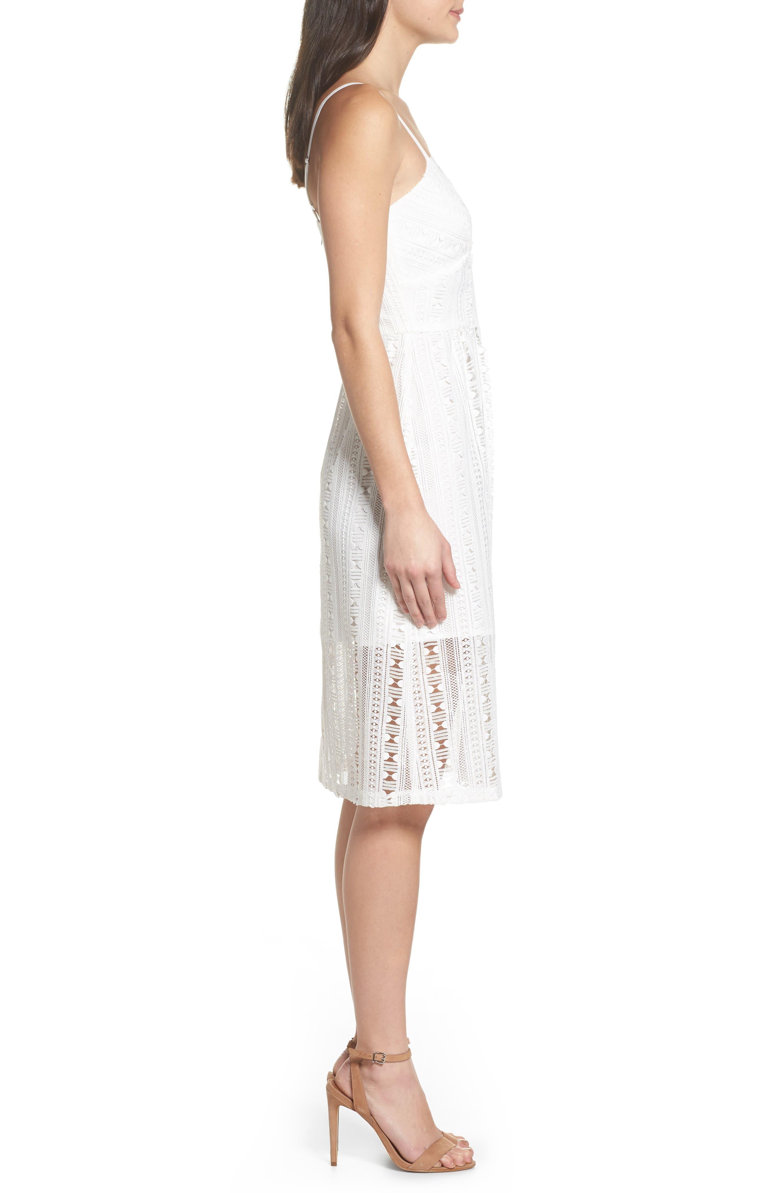 Belissimo Lace Fit & Flare Midi Dress,                             Alternate thumbnail 4, color,                             White