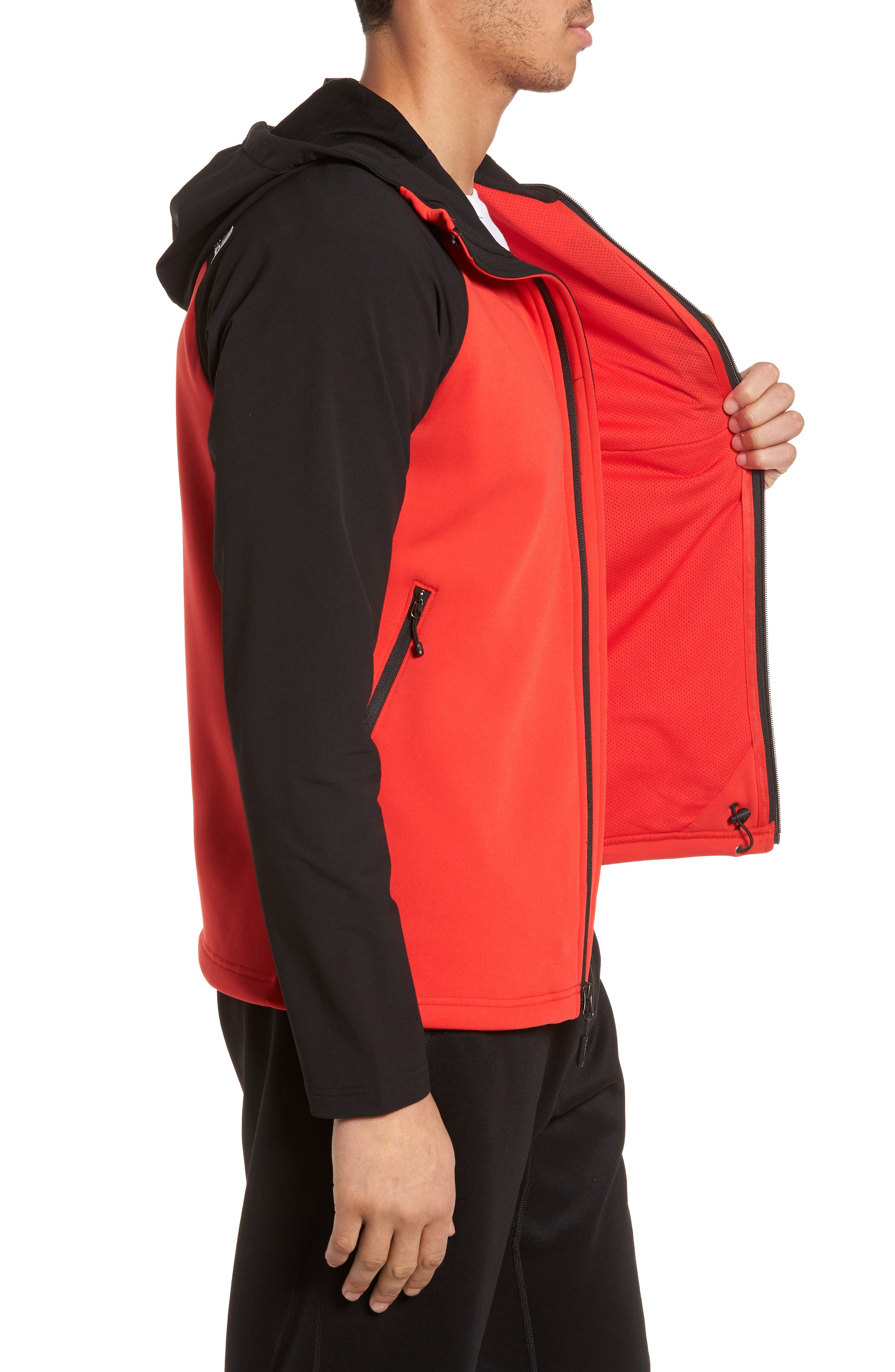 Tenacious Water Repellent Hybrid Jacket,                             Alternate thumbnail 3, color,                             High Risk Red/ Tnf Black
