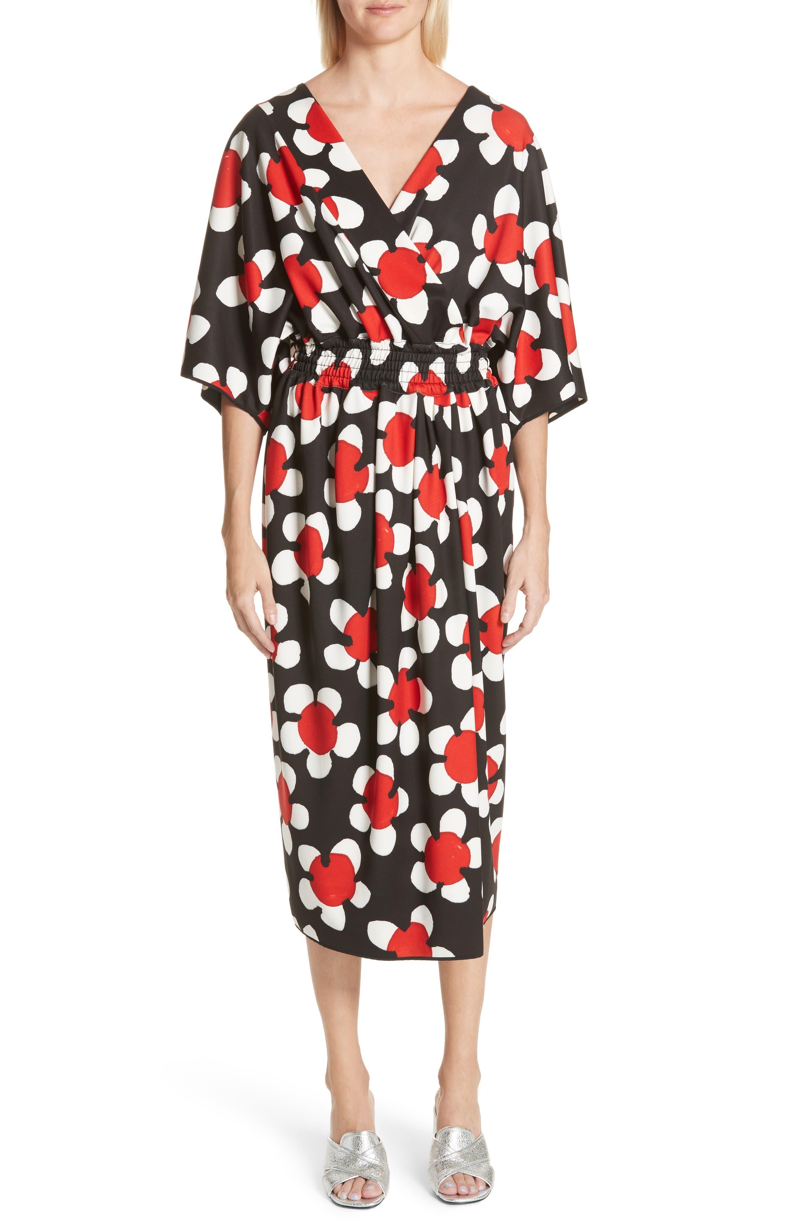 Surplice Neck Floral Print Dress,                             Main thumbnail 1, color,                             Red Multi