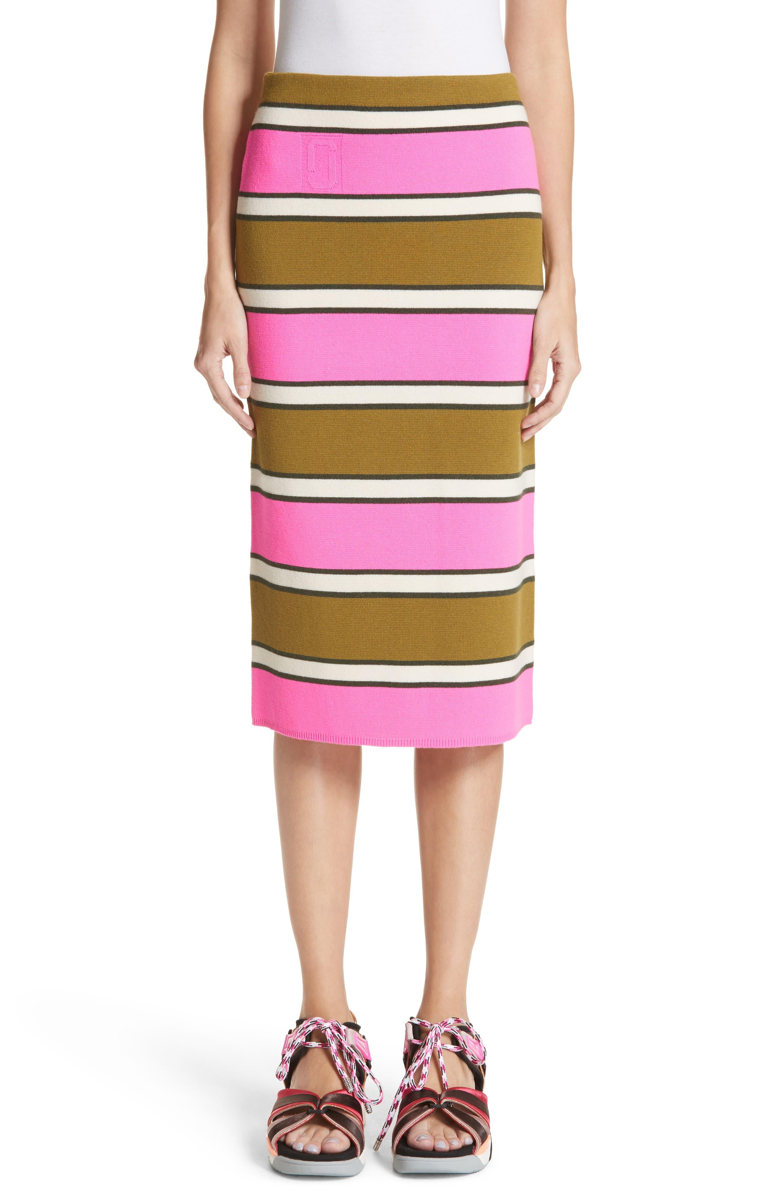 MARC JACOBS Stripe Cashmere Pencil Skirt