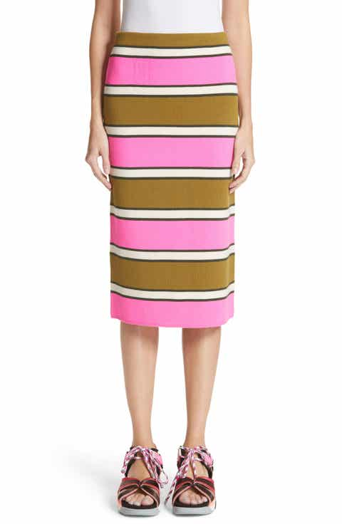 MARC JACOBS Stripe Cashmere Pencil Skirt