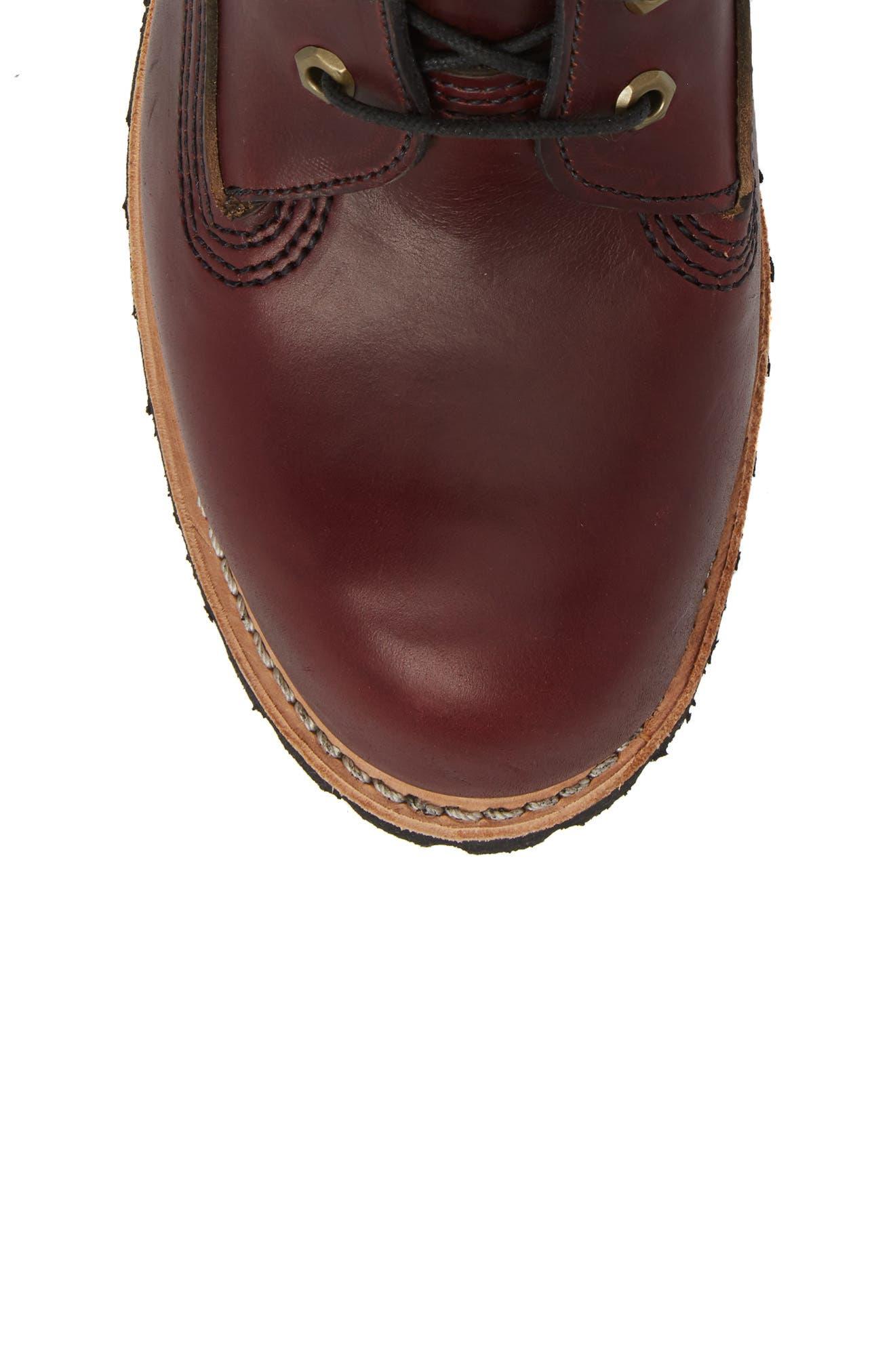 Plain Toe Boot,                             Alternate thumbnail 5, color,                             Burgundy Chromexel Horween