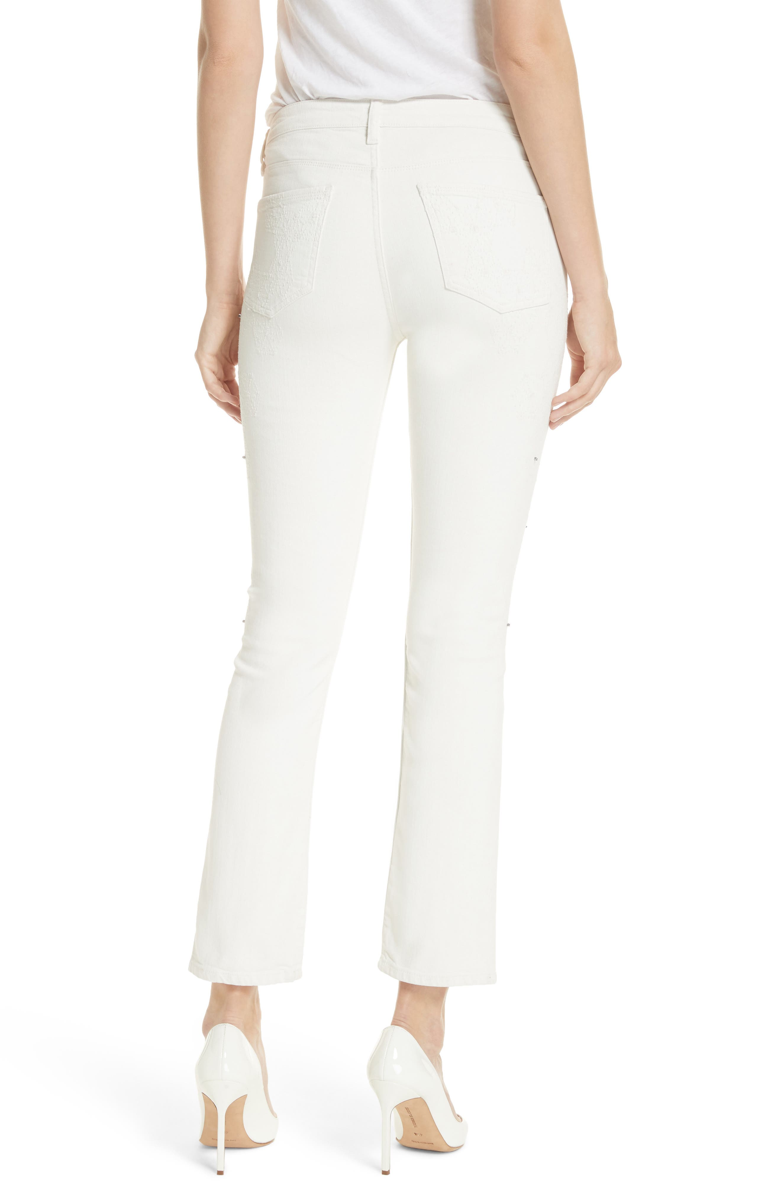 Lilly Crop Slim Fit Jeans,                             Alternate thumbnail 2, color,                             Kristal White