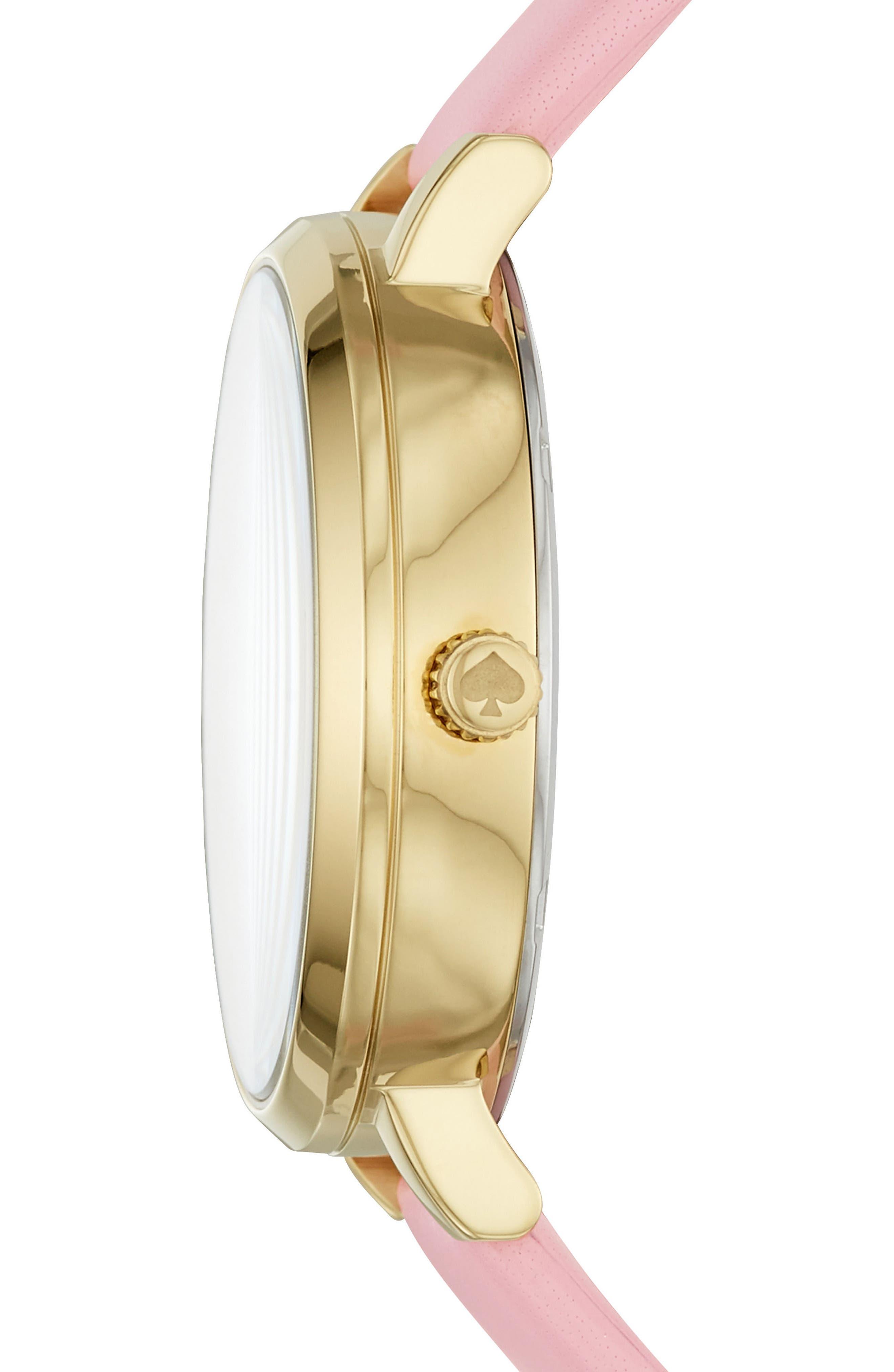 monterey alligator leather strap watch, 38mm,                             Alternate thumbnail 2, color,                             Pink/ Beige/ Gold