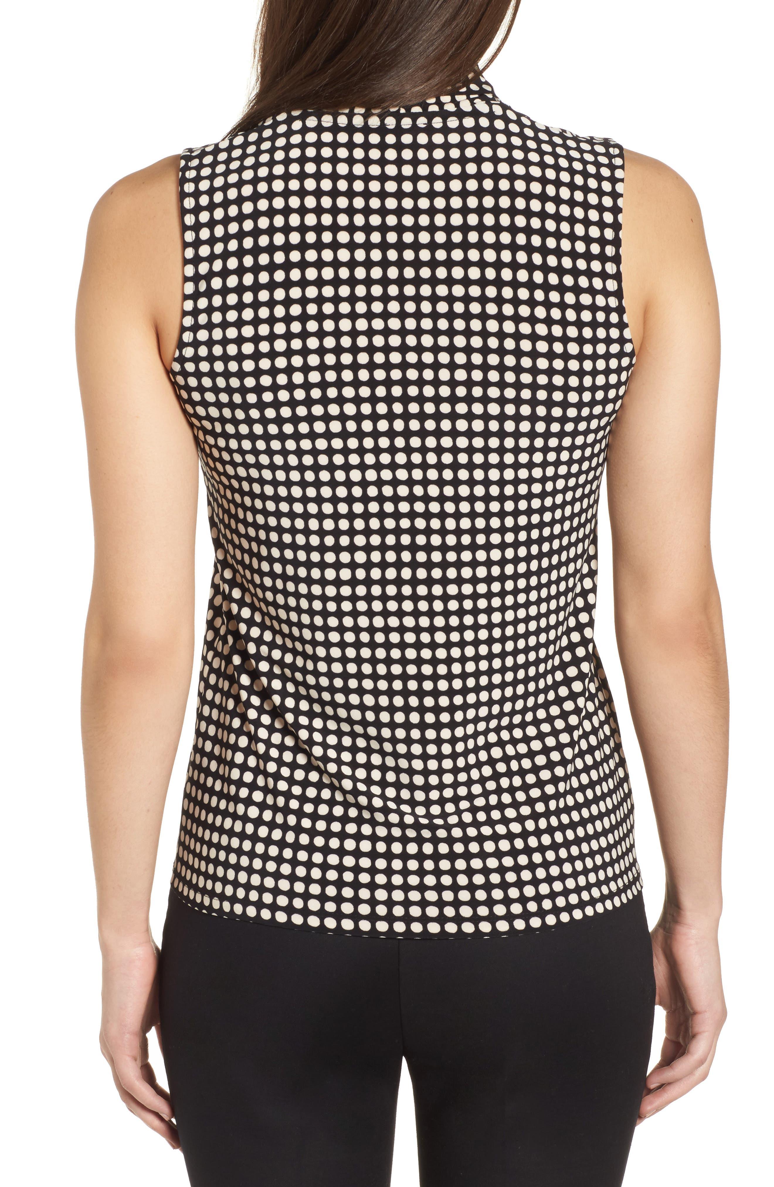 Pleat Neck Dot Matte Jersey Top,                             Alternate thumbnail 2, color,                             Black/ Parchment