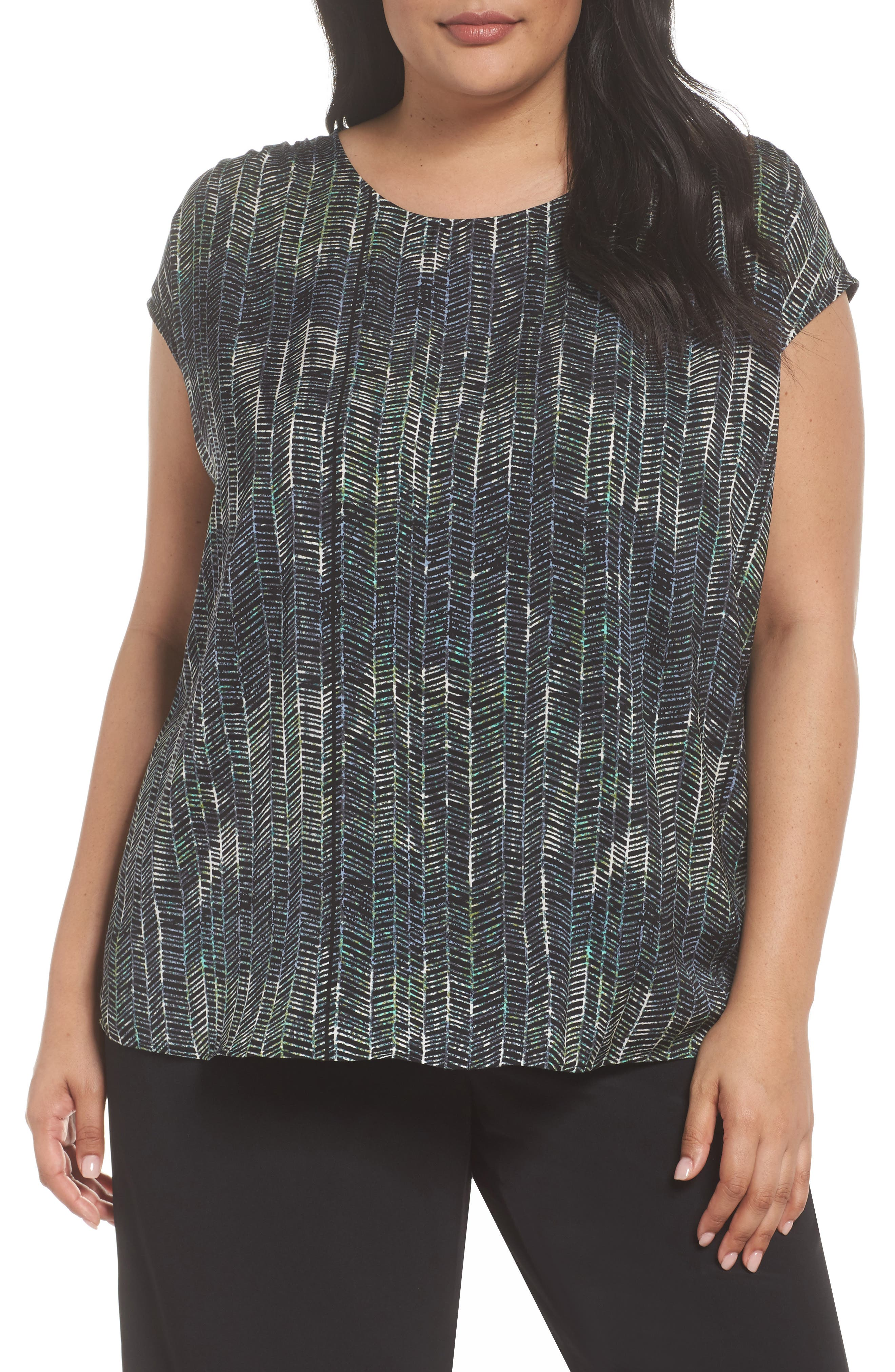 Ruched Shoulder Shell,                         Main,                         color, Black Painted Geo