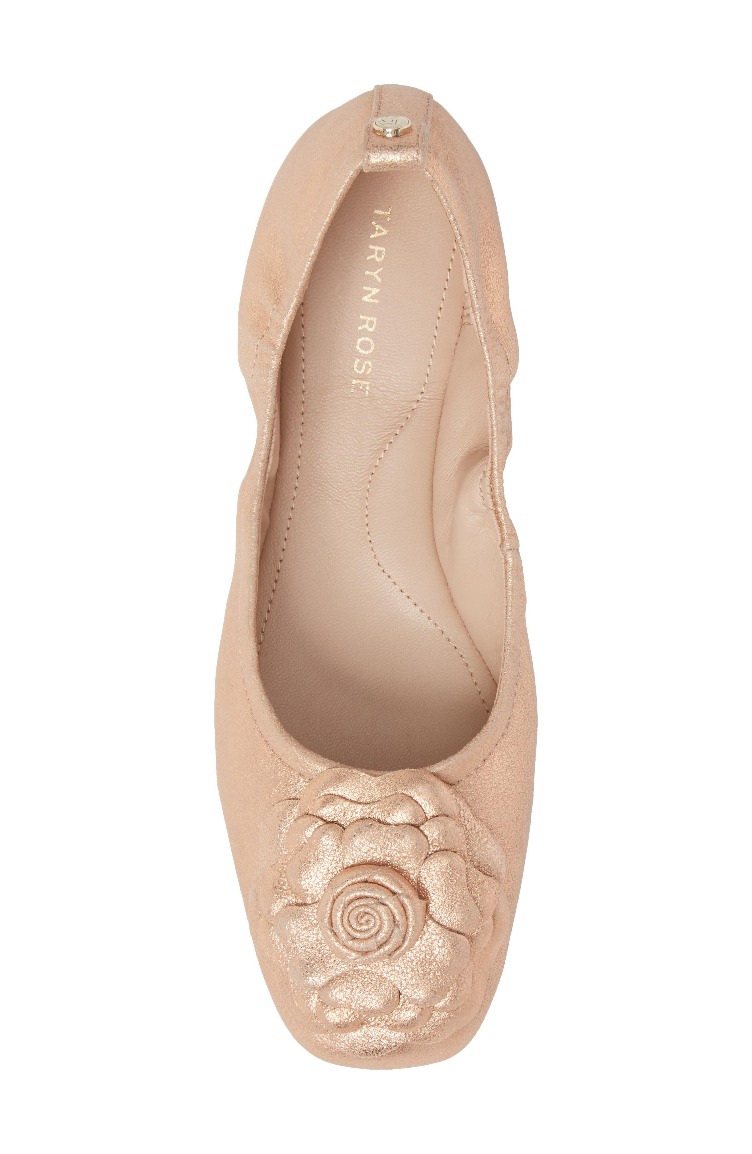 Rosalyn Ballet Flat,                             Alternate thumbnail 4, color,                             Rose Gold Leather