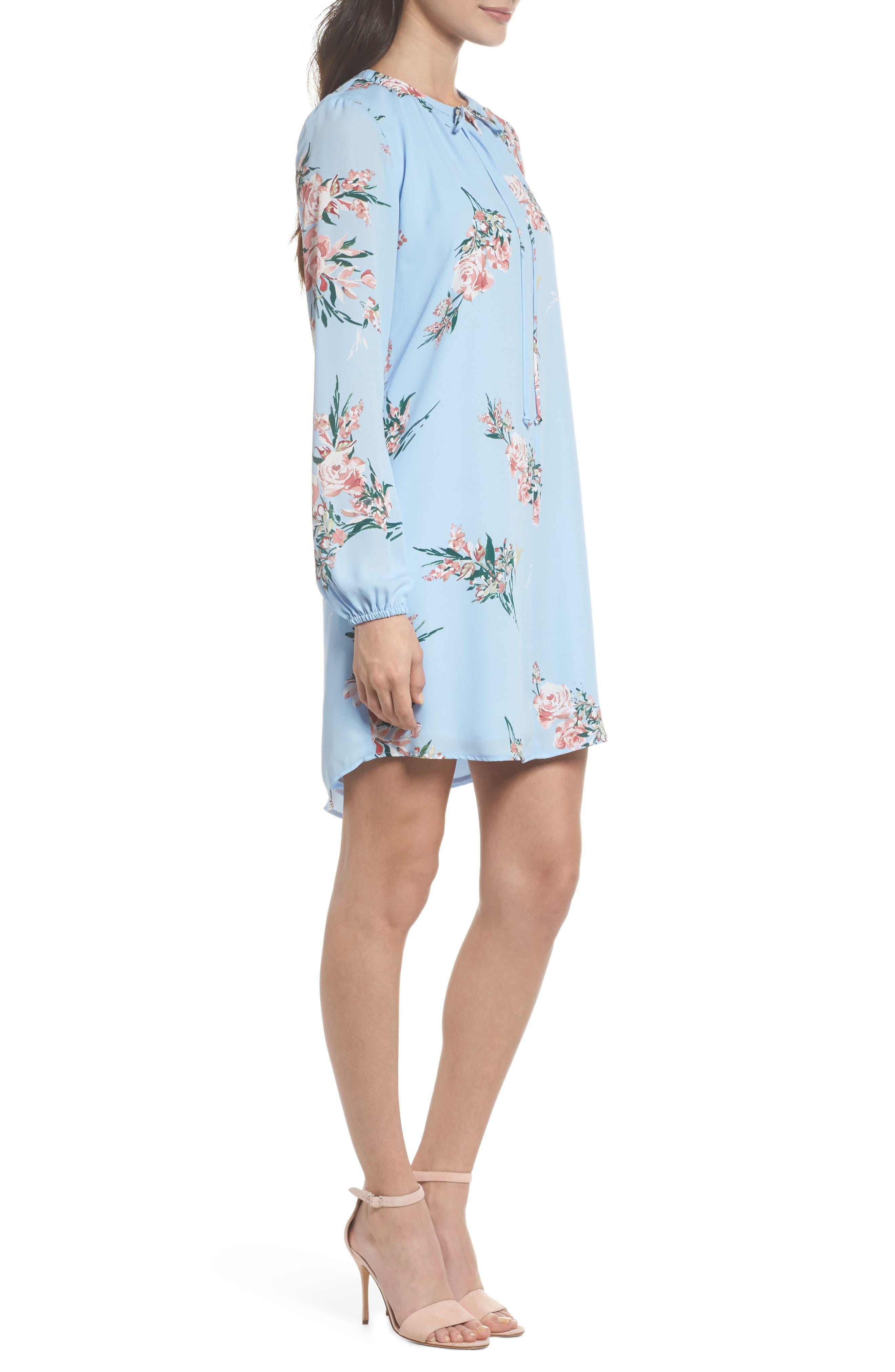 Floral Shift Dress,                             Alternate thumbnail 3, color,                             Blue Floral