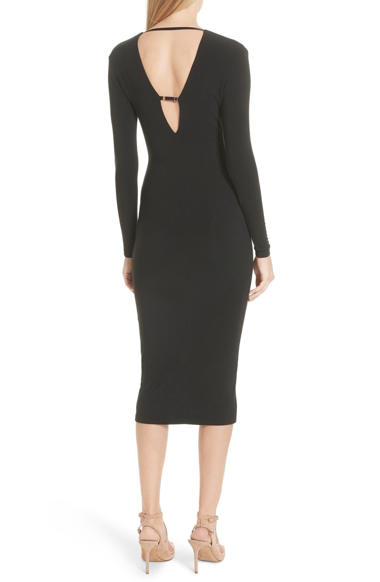 Keyhole Neck Body-Con Dress,                             Alternate thumbnail 2, color,                             Black
