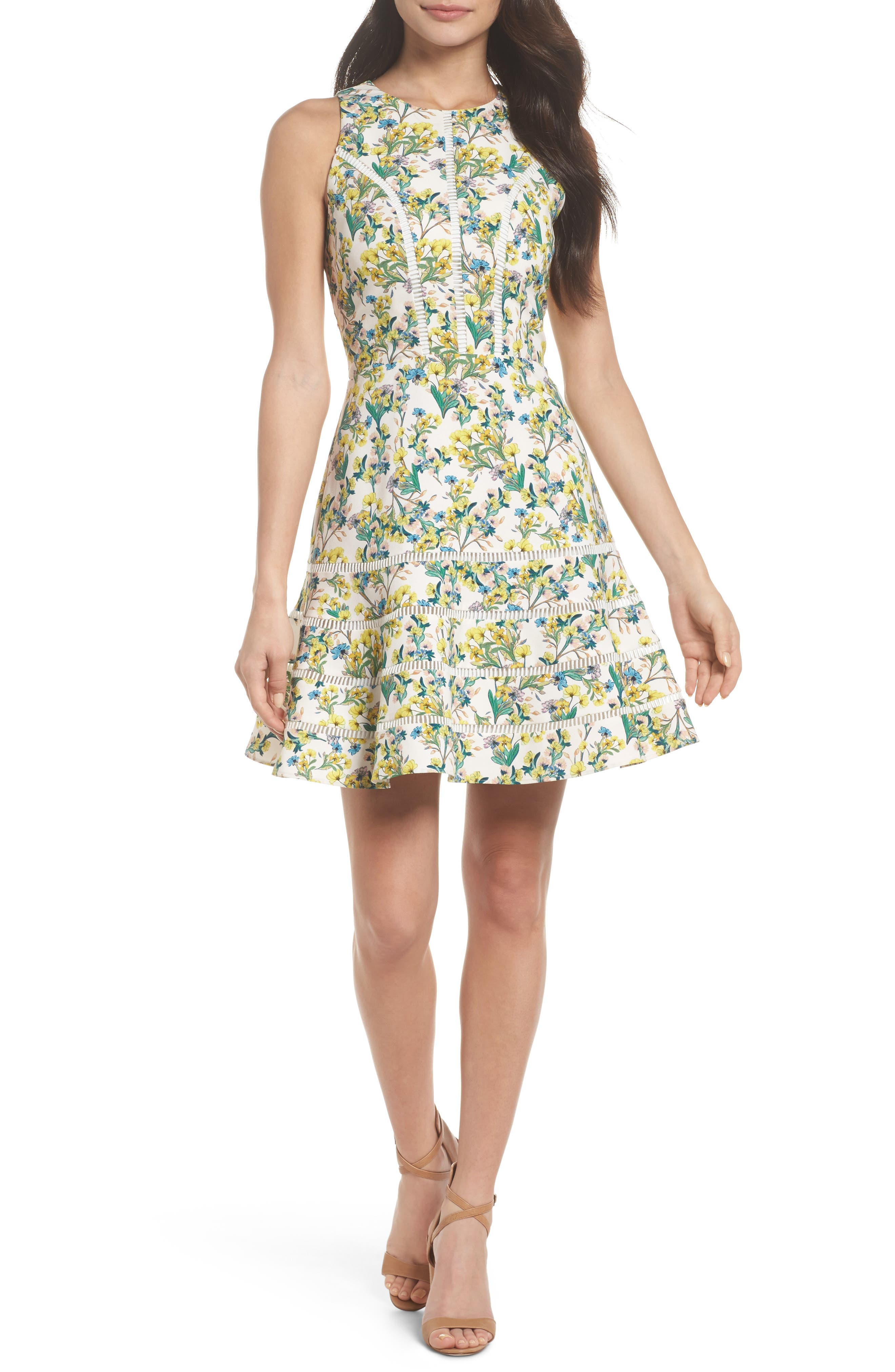 Lace Detail Fit & Flare Dress,                             Main thumbnail 1, color,                             Ivory Lucy Floral