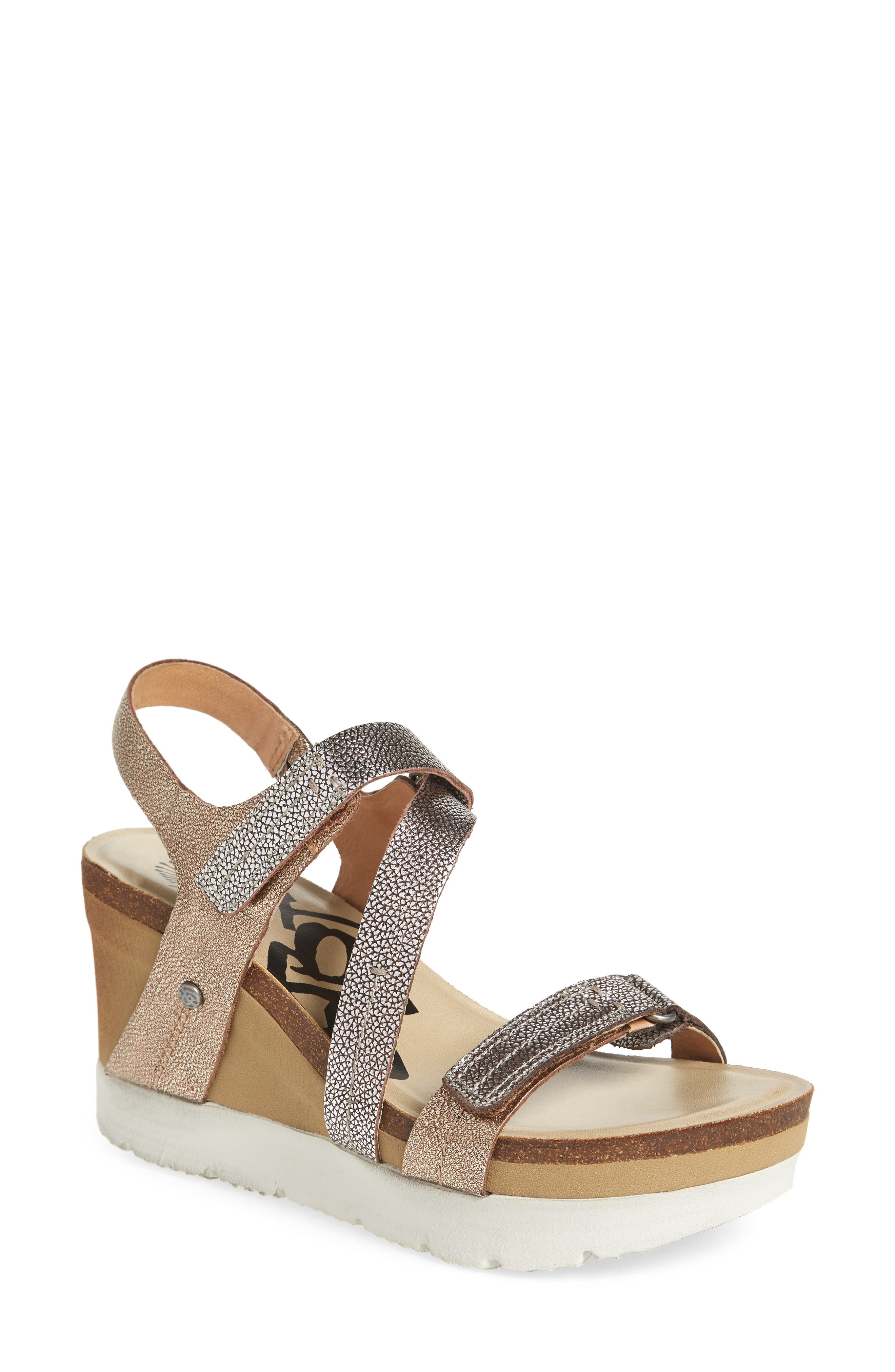 Wavey Wedge Sandal,                             Main thumbnail 1, color,                             Gold Leather
