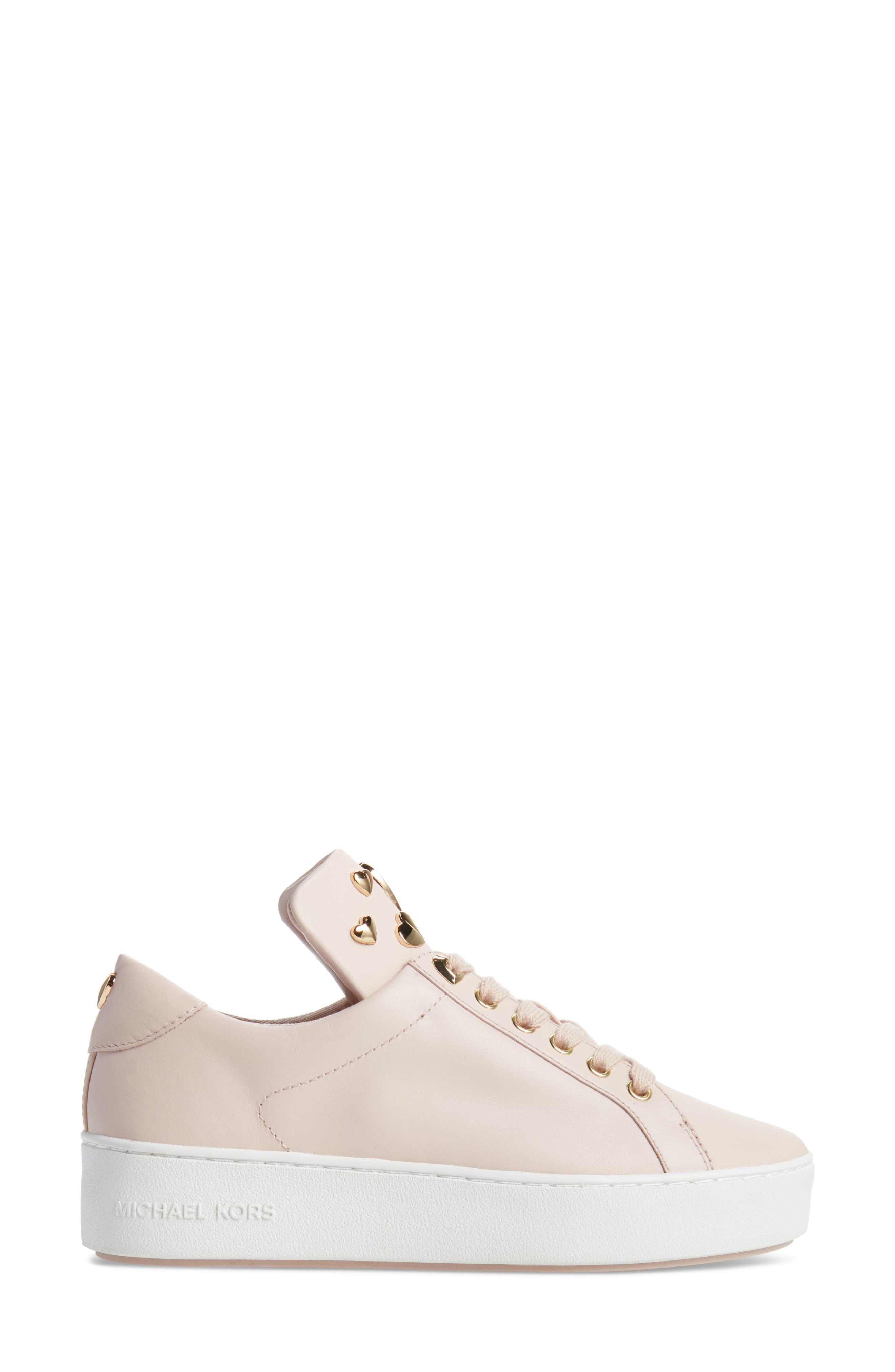 Mindy Platform Sneaker,                             Alternate thumbnail 3, color,                             Soft Pink Studs