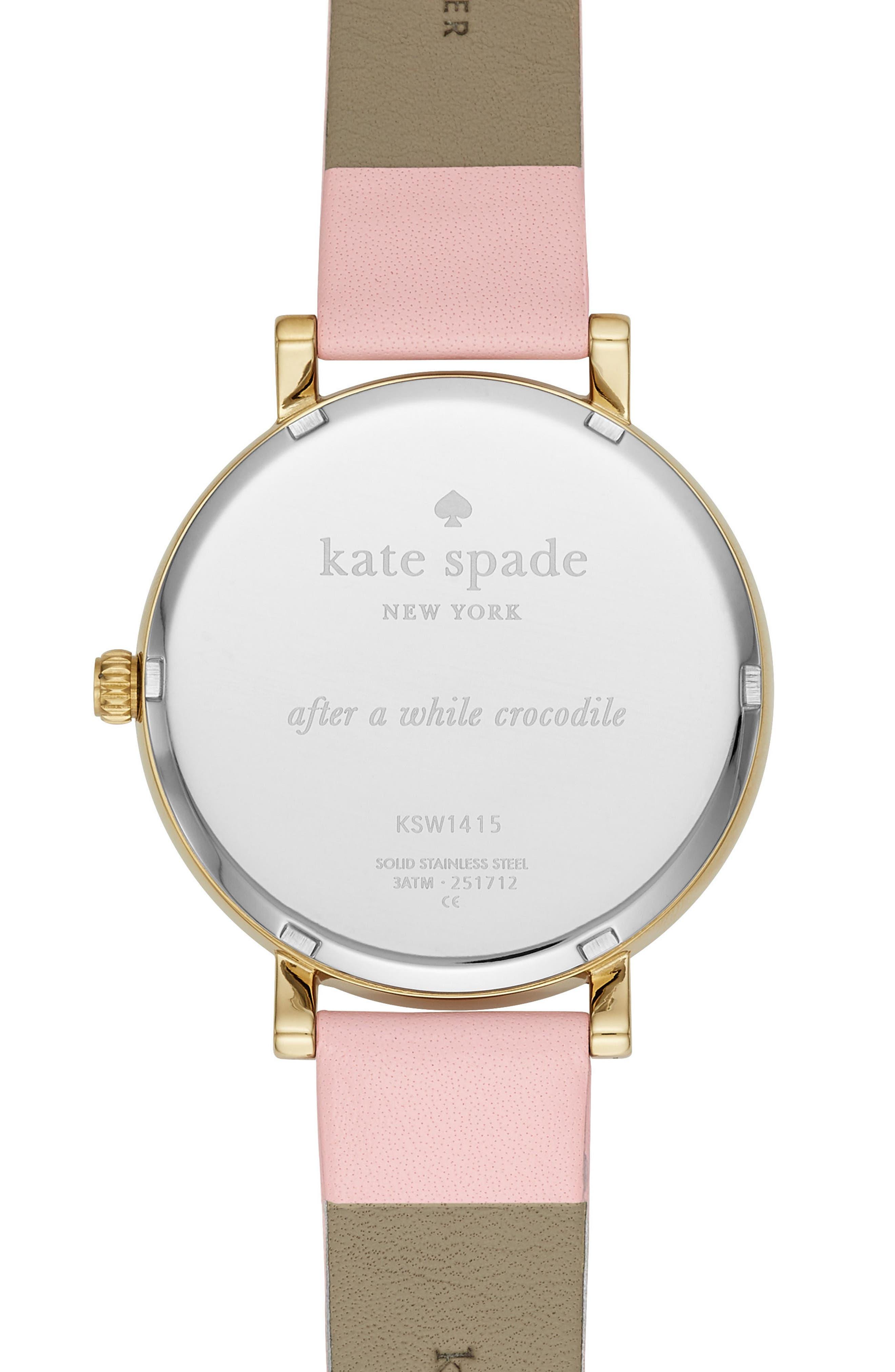 monterey alligator leather strap watch, 38mm,                             Alternate thumbnail 3, color,                             Pink/ Beige/ Gold