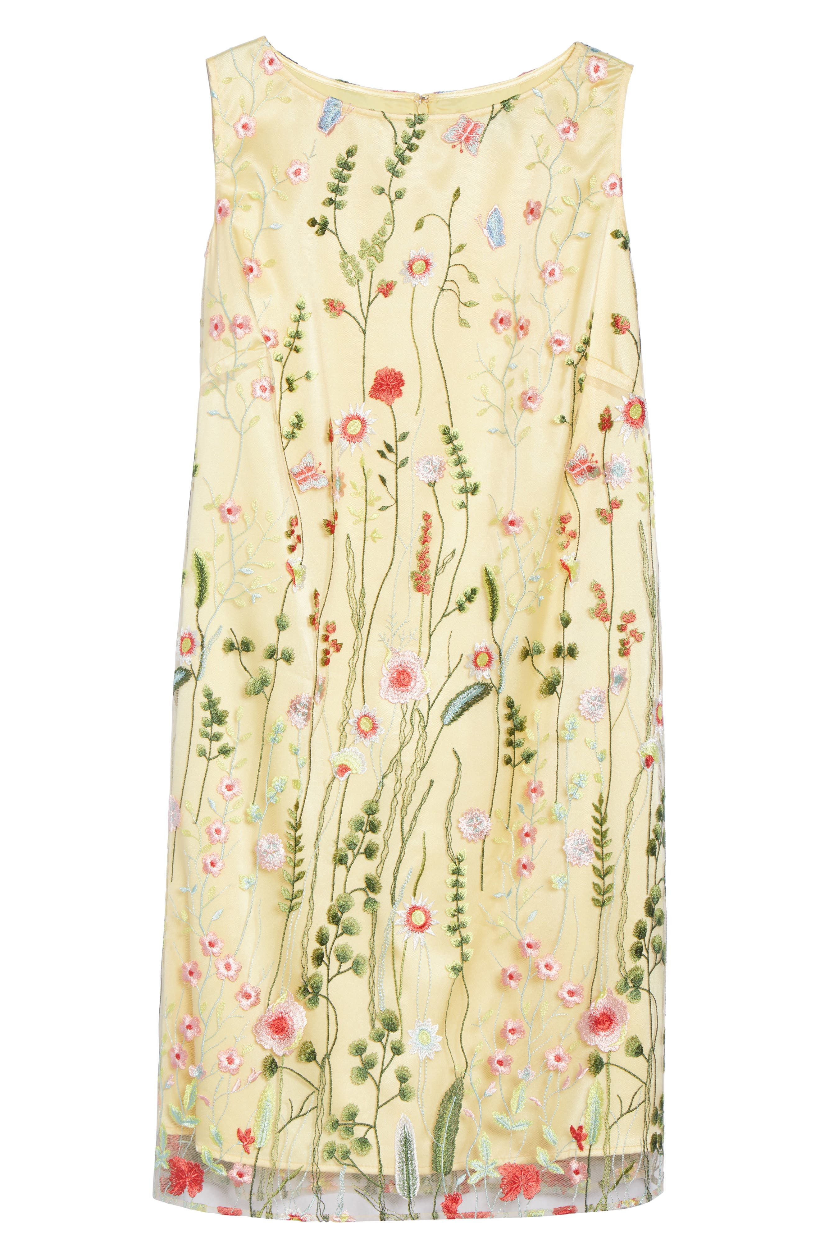 Floral Embroidered Shift Dress,                             Alternate thumbnail 6, color,                             Gold/ Blush/ Green