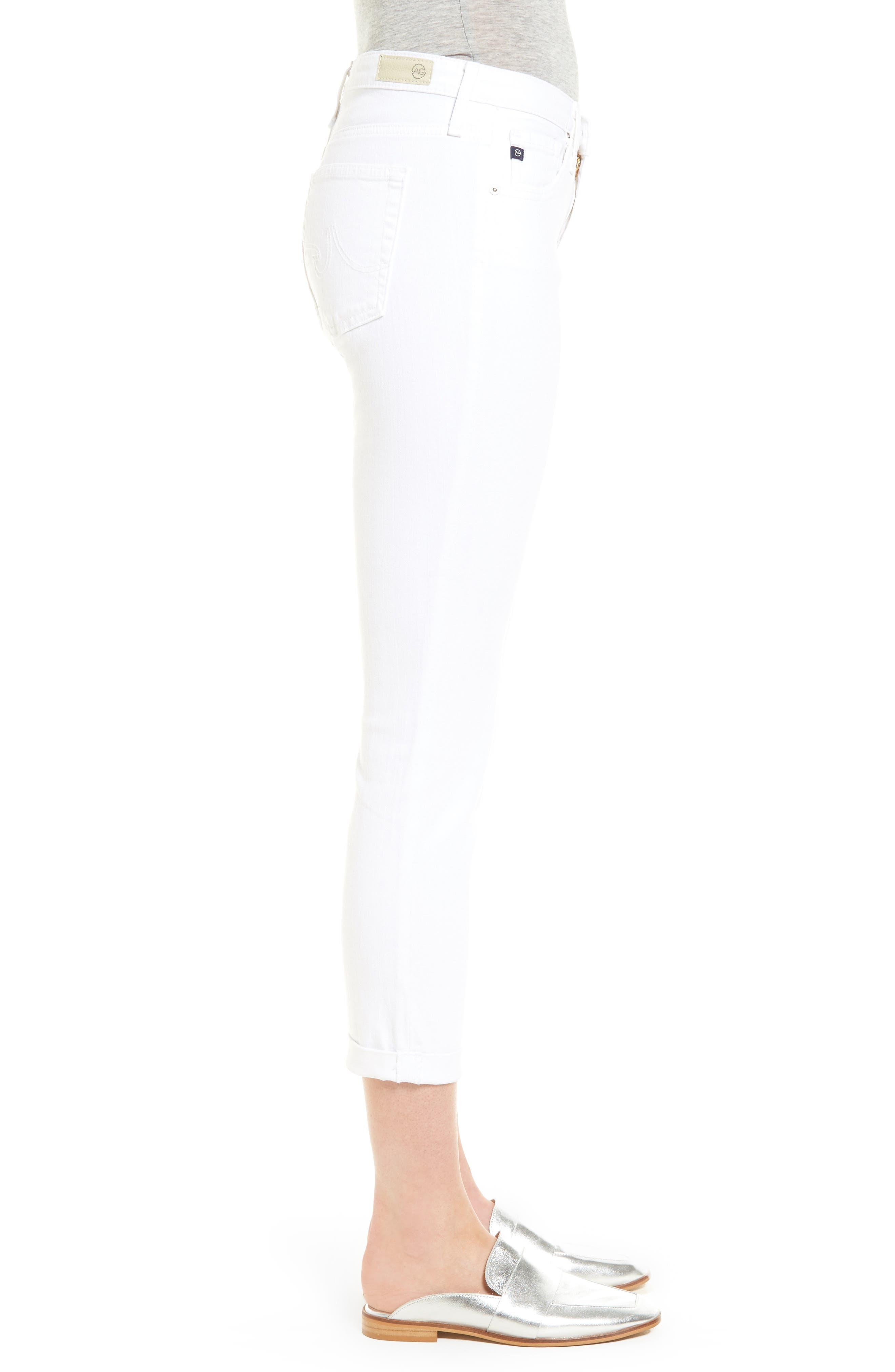 Prima Roll-Up Skinny Jeans,                             Alternate thumbnail 3, color,                             White
