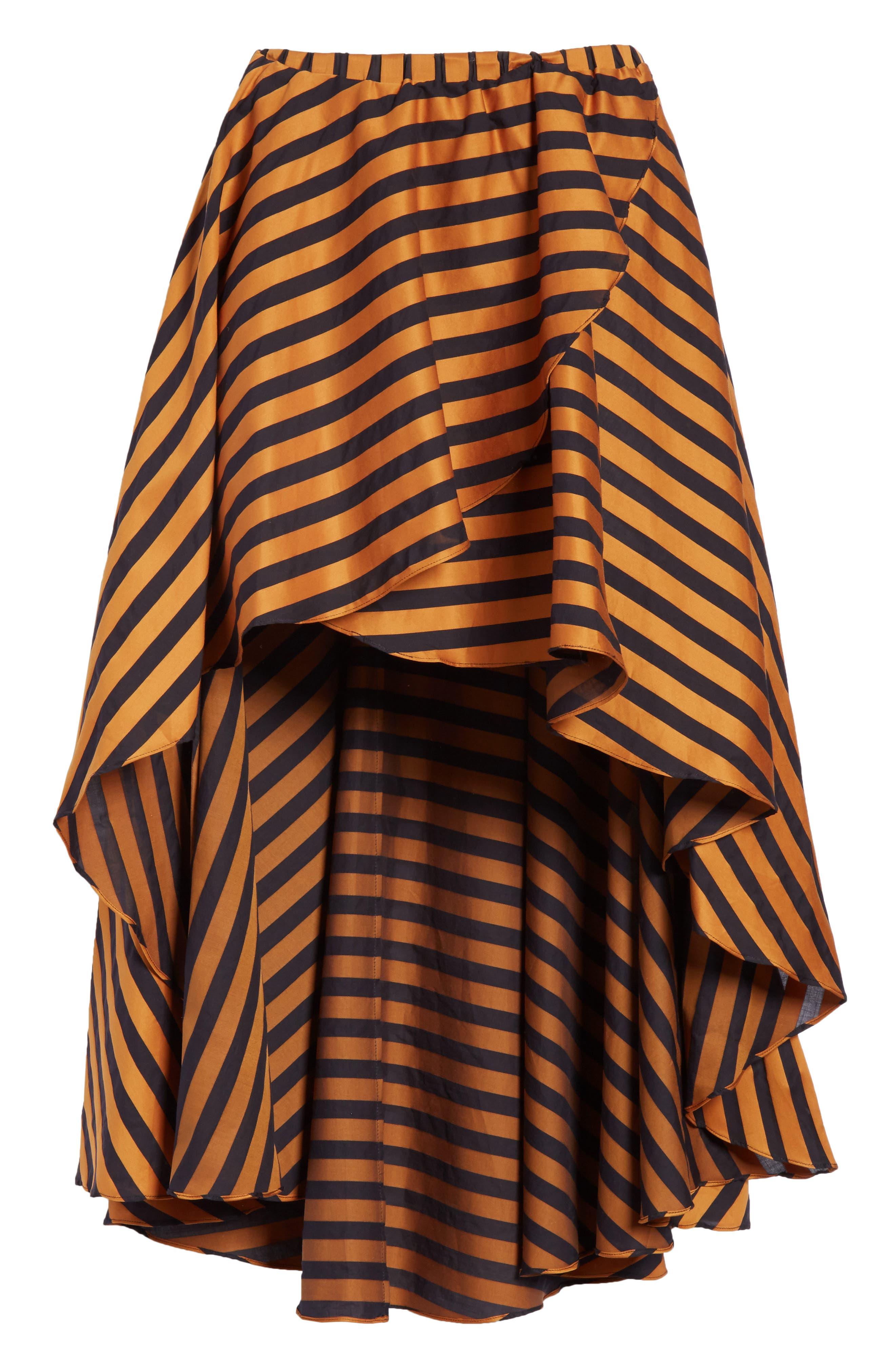 Adelle Ruffle High/Low Skirt,                             Alternate thumbnail 6, color,                             Bronze Black