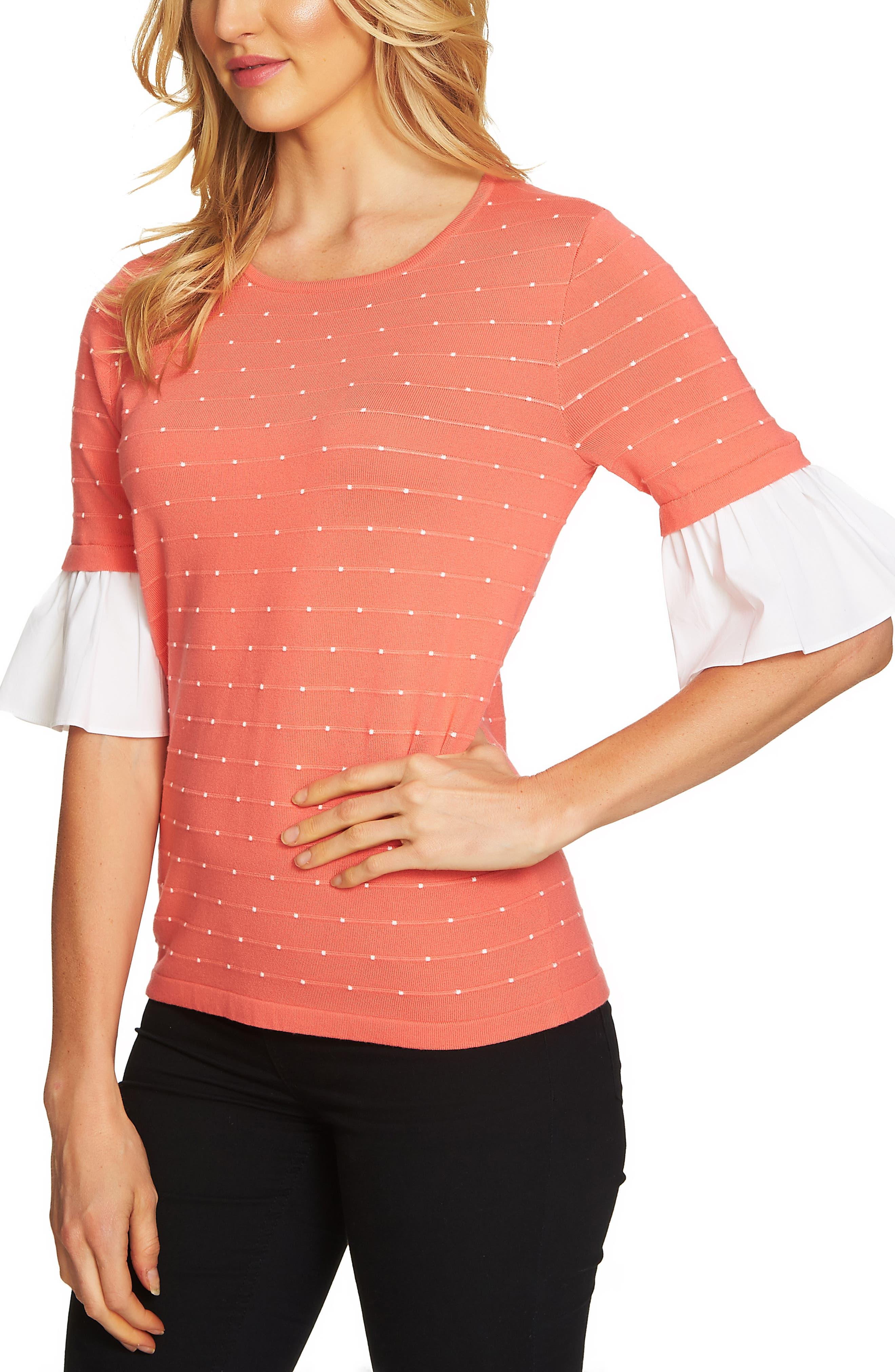 Ruffle Sleeve Jacquard Sweater,                         Main,                         color, Coral Jewel