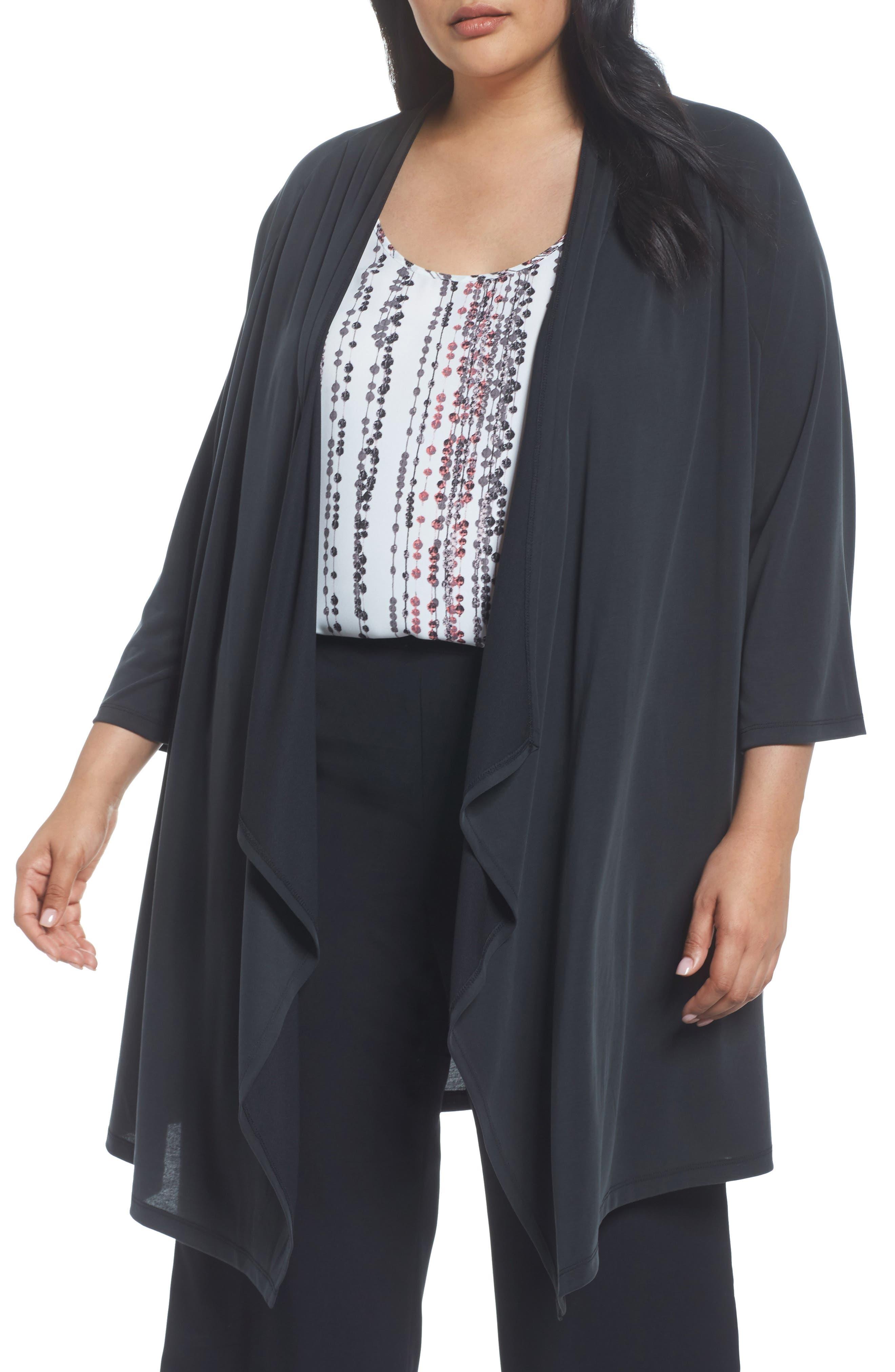 Kimono Cardigan,                             Main thumbnail 1, color,                             Black