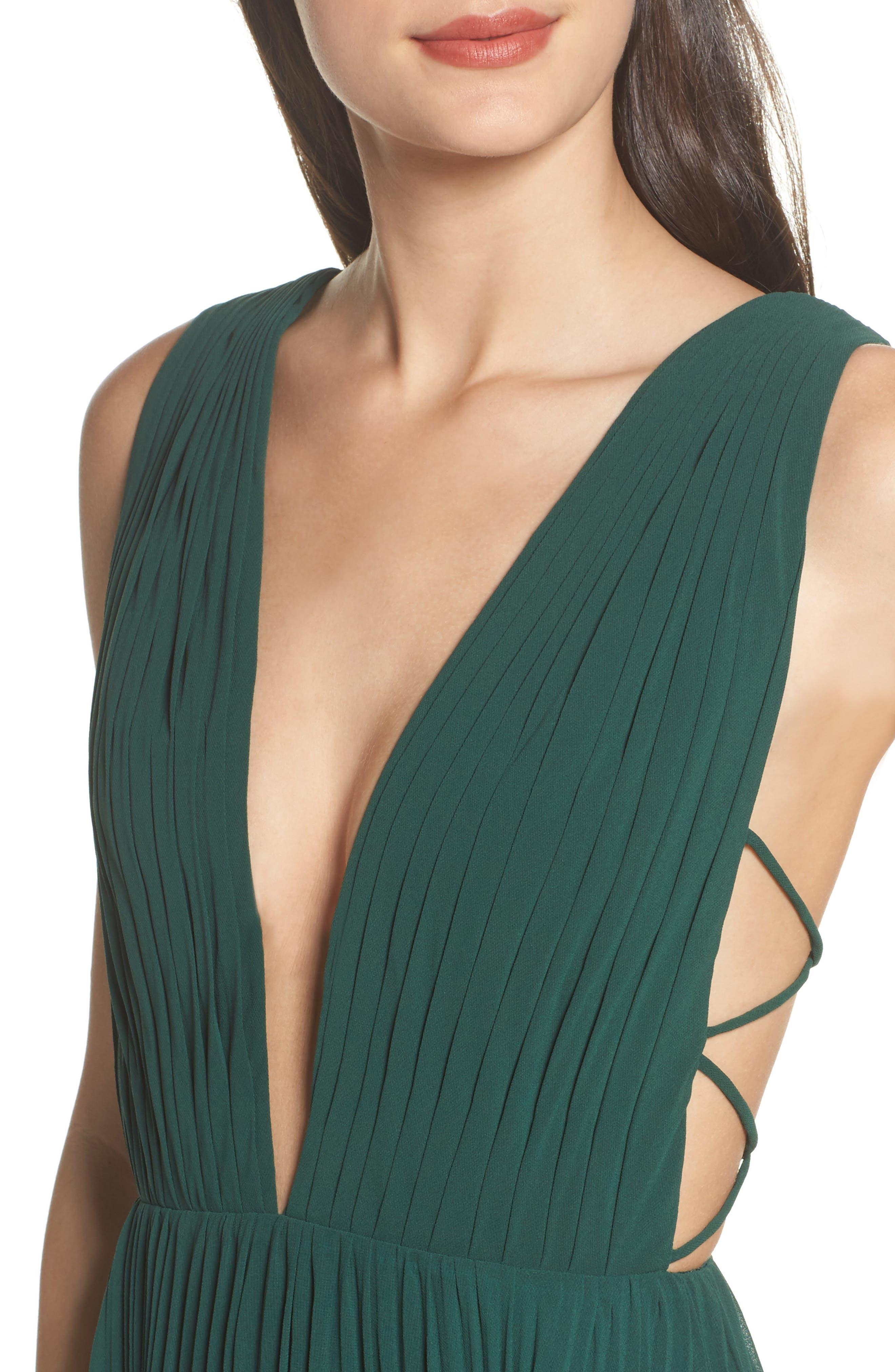 Fame & Partners Allegra Pleat Gown,                             Alternate thumbnail 4, color,                             Dark Forest