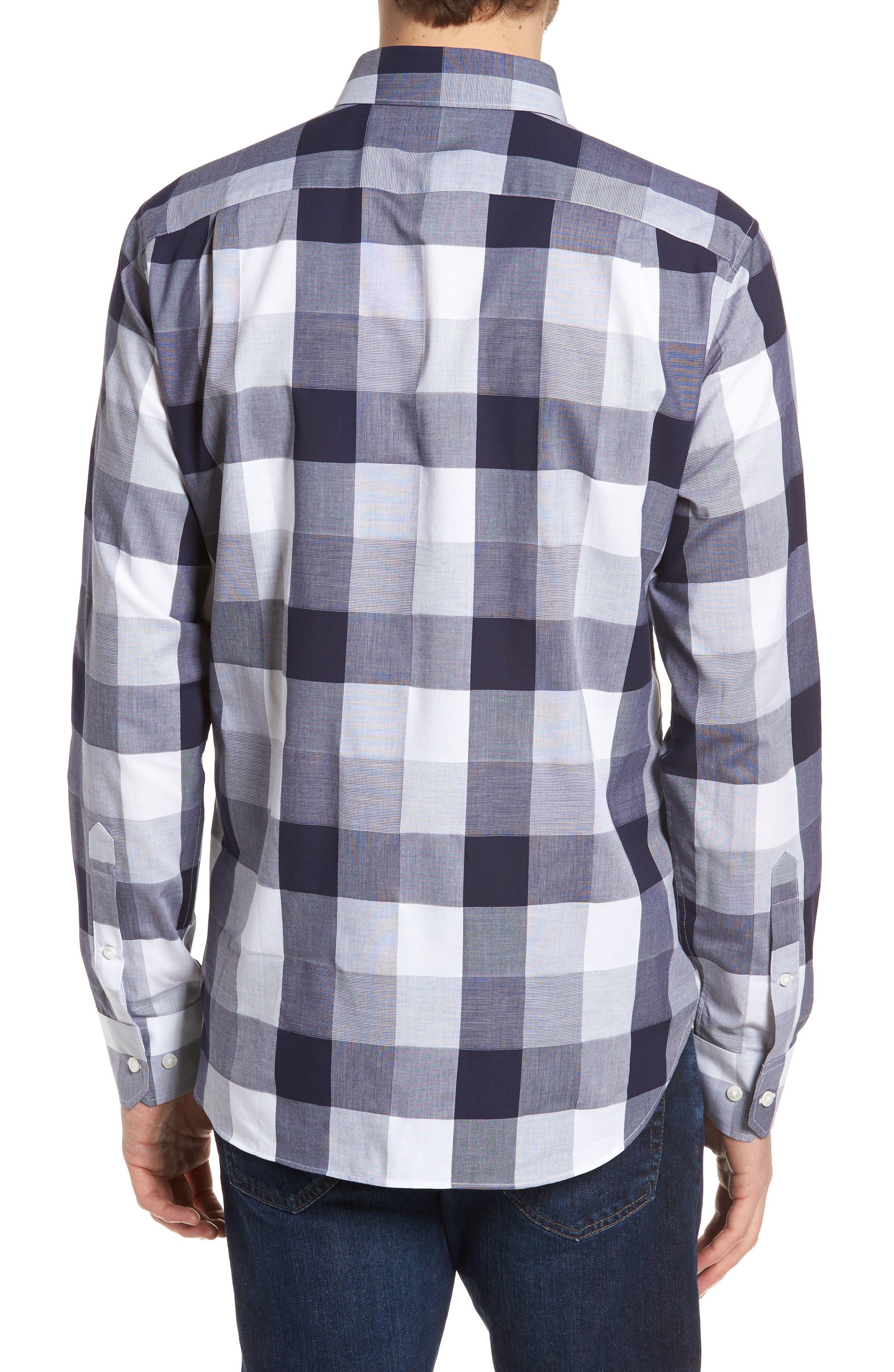 Unbutton Down 2.0 Slim Fit Buffalo Check Sport Shirt,                             Alternate thumbnail 3, color,                             Thomas Check - Maritime Blue