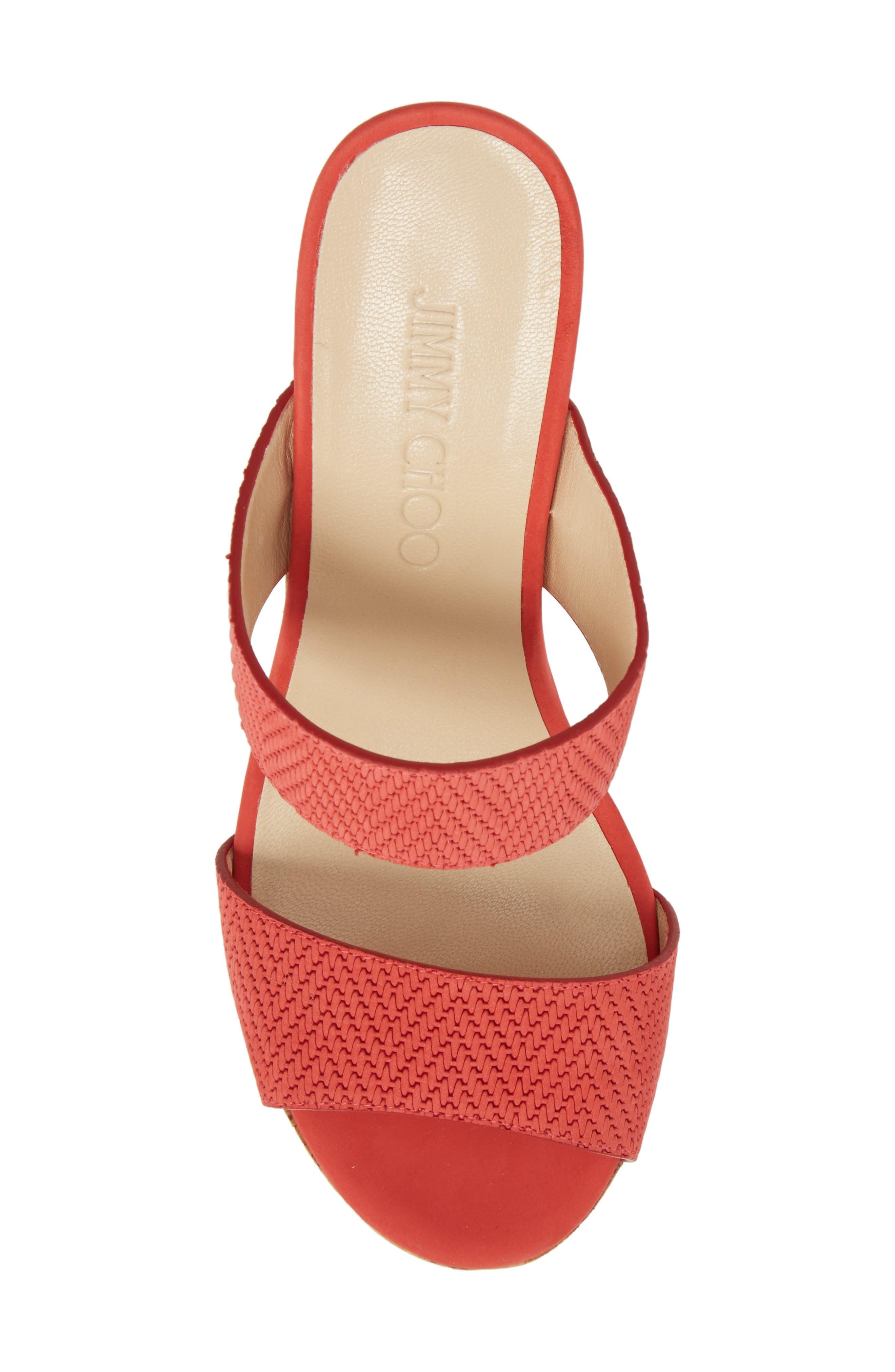 Parker Wedge Slide Sandal,                             Alternate thumbnail 4, color,                             Flamingo Red