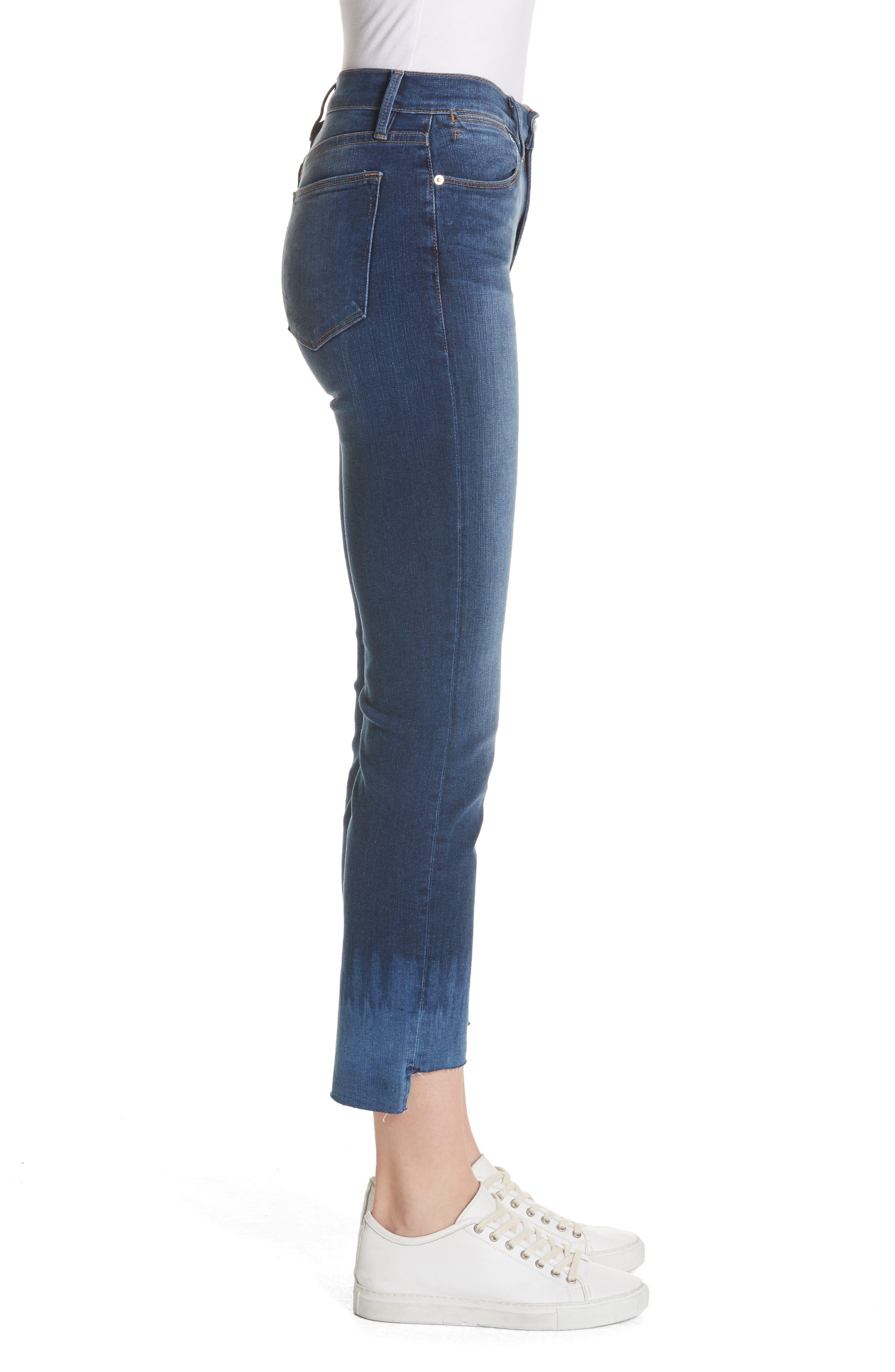 Le High Crop Straight Leg Jeans,                             Alternate thumbnail 3, color,                             Baynes Court