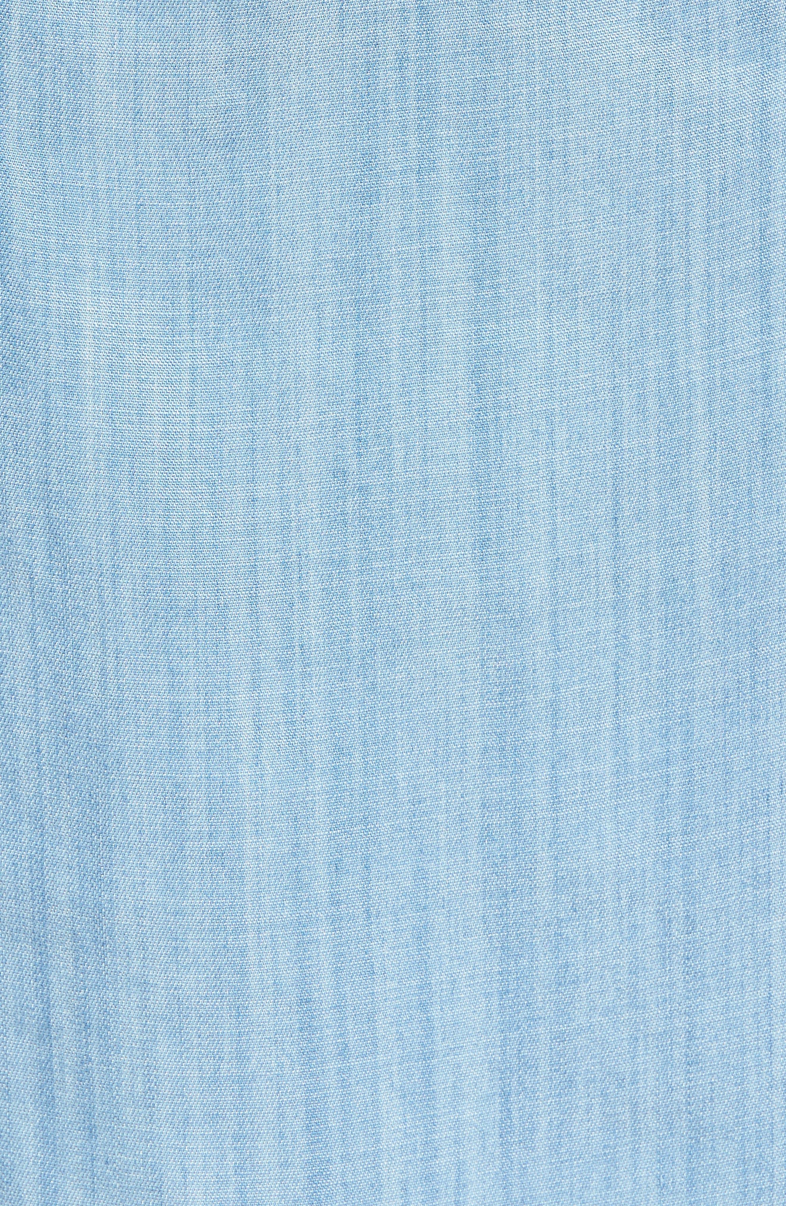 Lace-Up Chambray Shift Dress,                             Alternate thumbnail 5, color,                             Light Storm Wash
